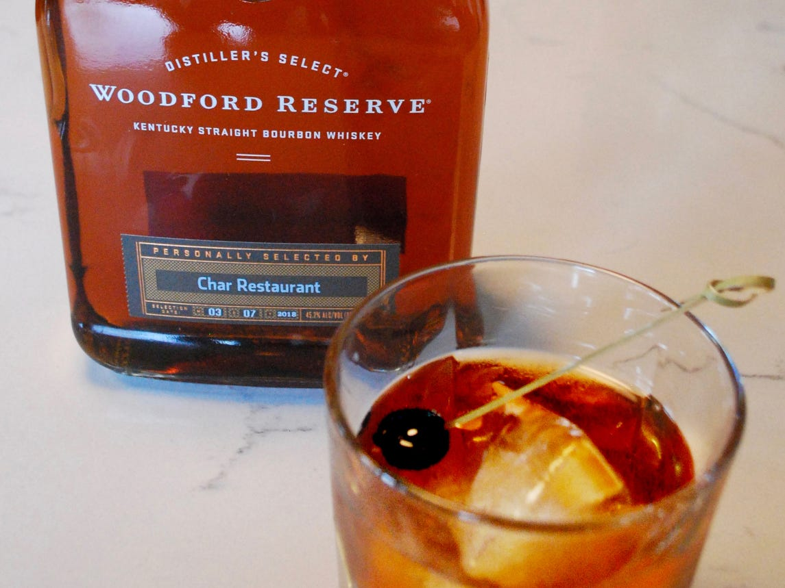 Char Old Fashioned, made with Woodford Reserve Bourbon select, at Char Restaurant in Green Hills.