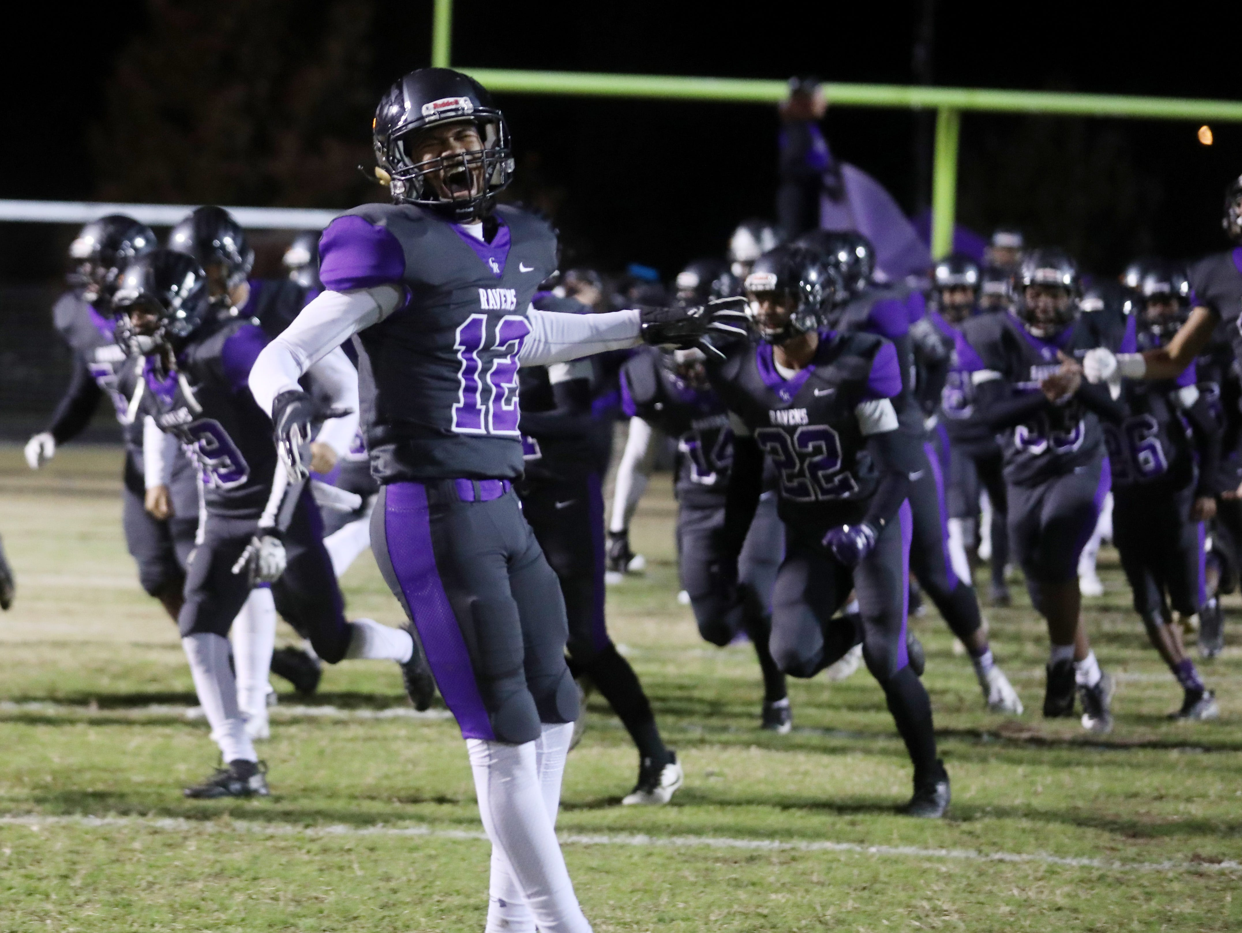Cane Ridge players take the field for their 2018 TSSAA play-off game against Ravenwood at Cane Ridge Friday, November 9, 2018.