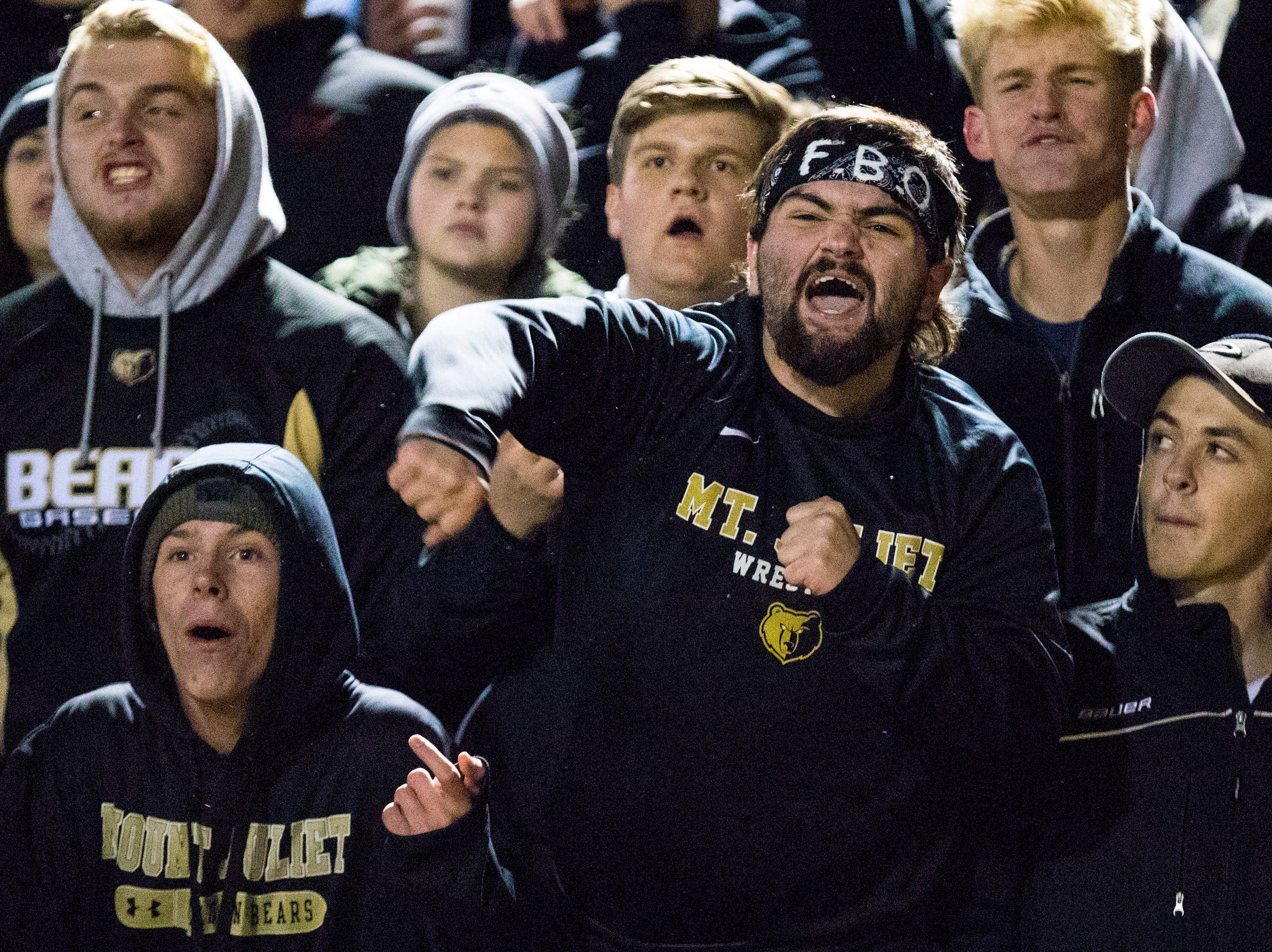 A member of Mt. Juliet's student section argues a call during Mt. Juliet's game against Blackman at Mt. Juliet High School in Mt. Juliet on Friday, Nov. 9, 2018.