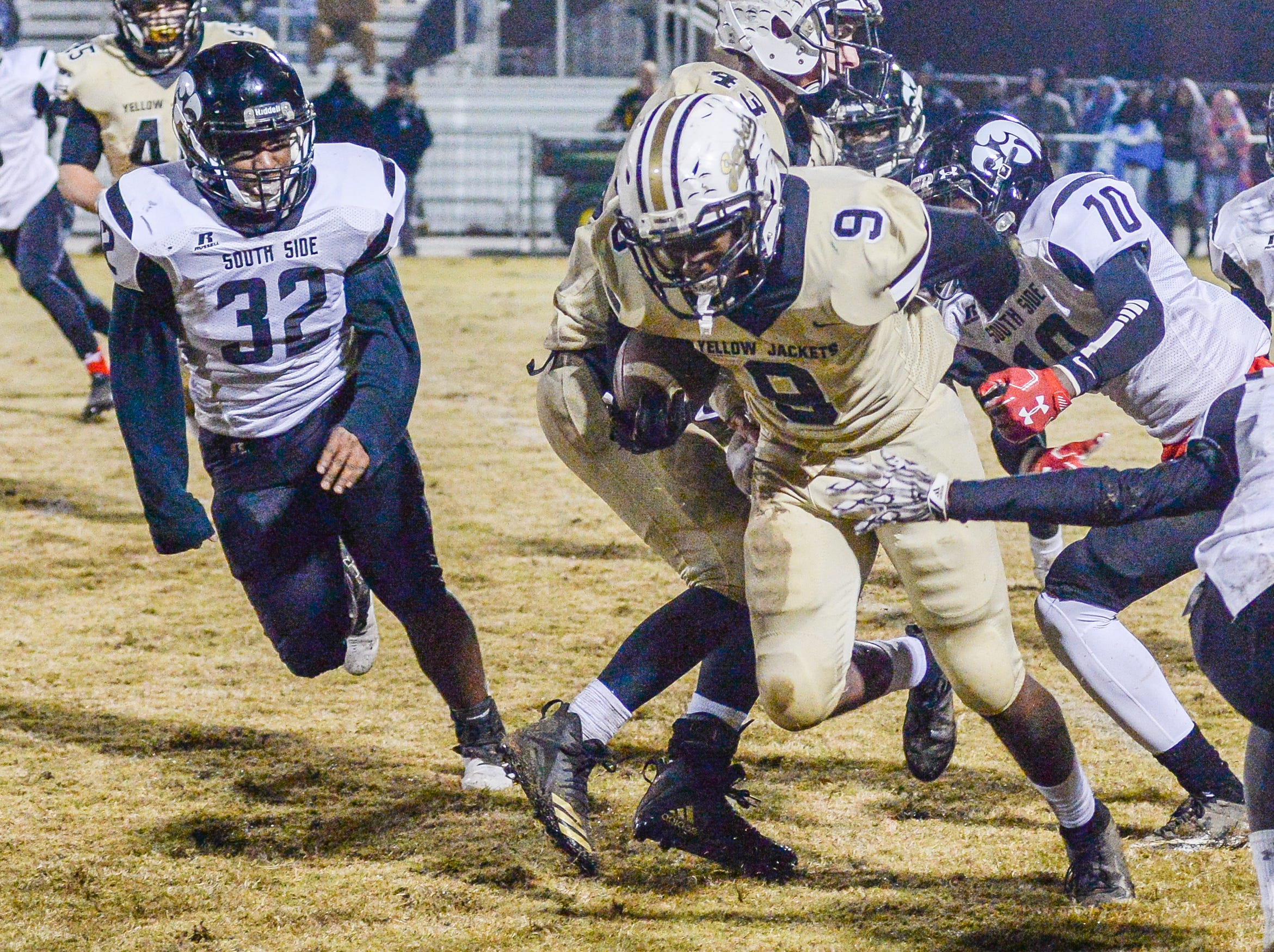 Springfield High School player Kevontay White tries to move forward during a game against South Side School at Springfield High School on Friday, Nov. 9.