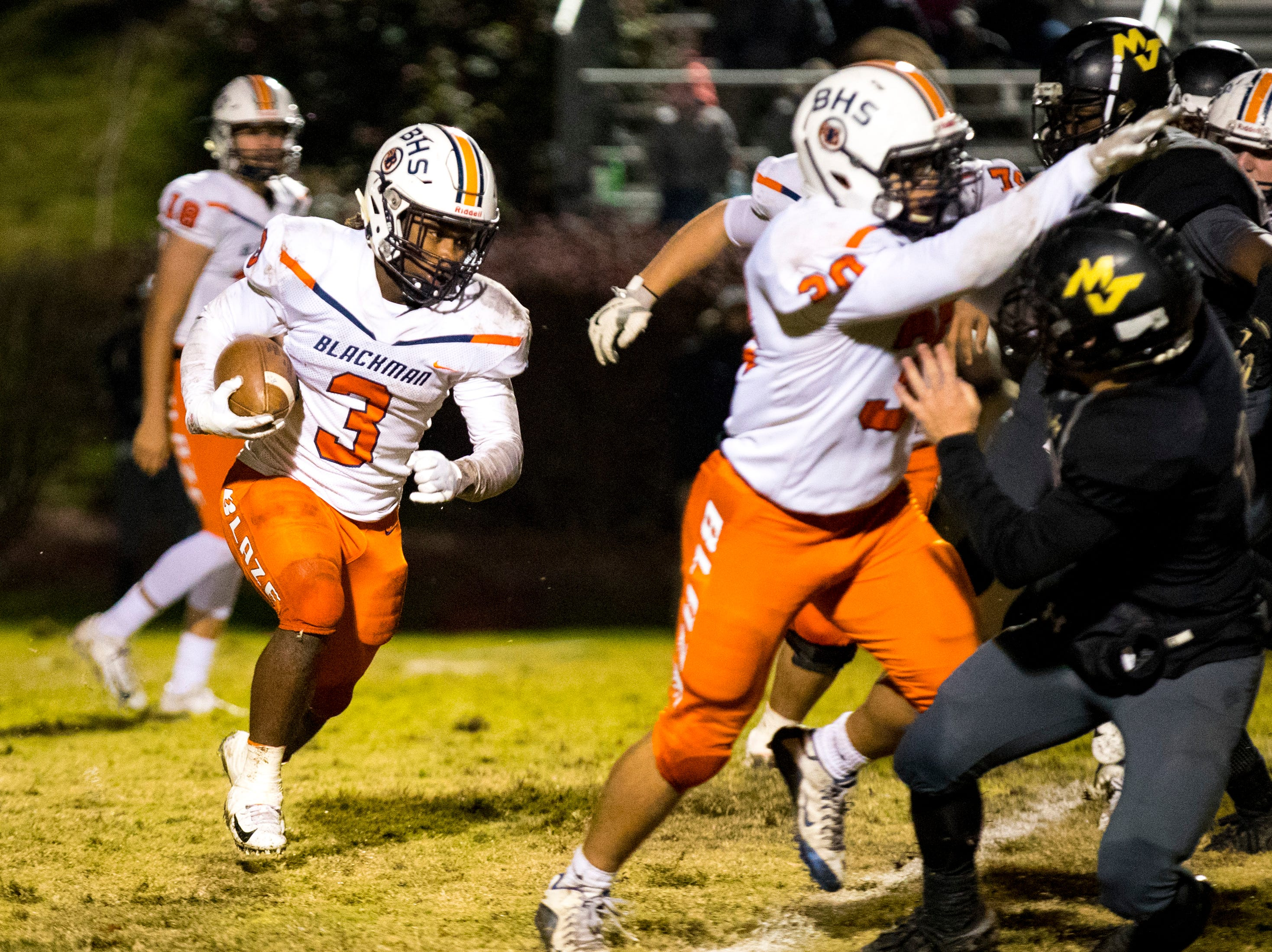 Blackman's Ta'Micus Napier (3) carries the ball during Mt. Juliet's game against Blackman at Mt. Juliet High School in Mt. Juliet on Friday, Nov. 9, 2018.