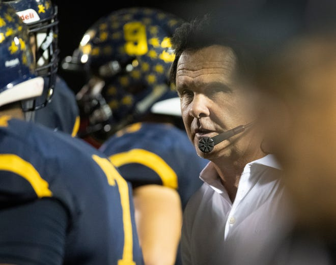 Naples head coach Bill Kramer leads the Golden Eagles against Fort Myers in a Class 6A-Region 3 semifinal on Friday.