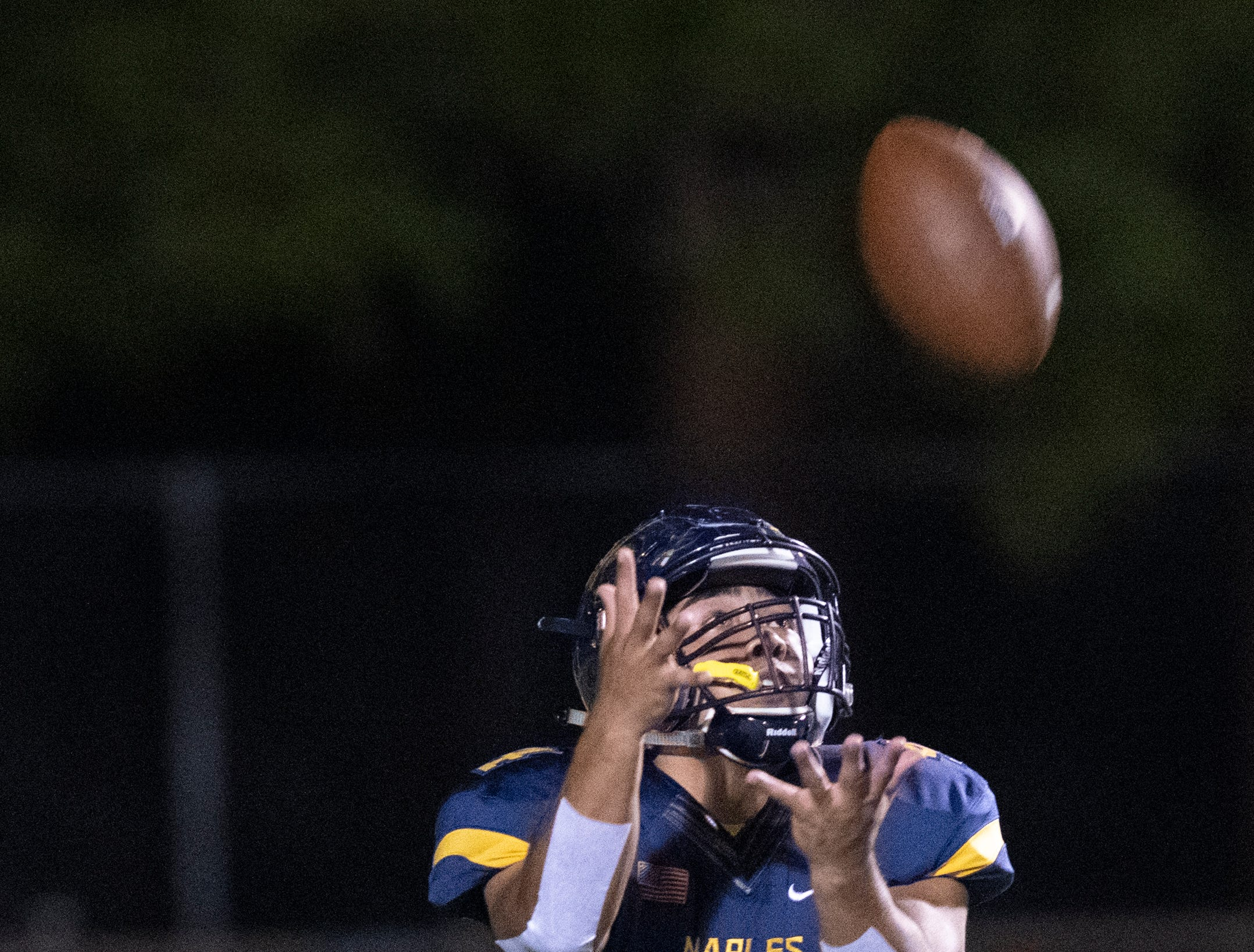 Elan Sommala of Naples catches a Lehigh punt during the Class 6A regional quarterfinal playoff game at Naples High on Friday night, November 9, 2018.