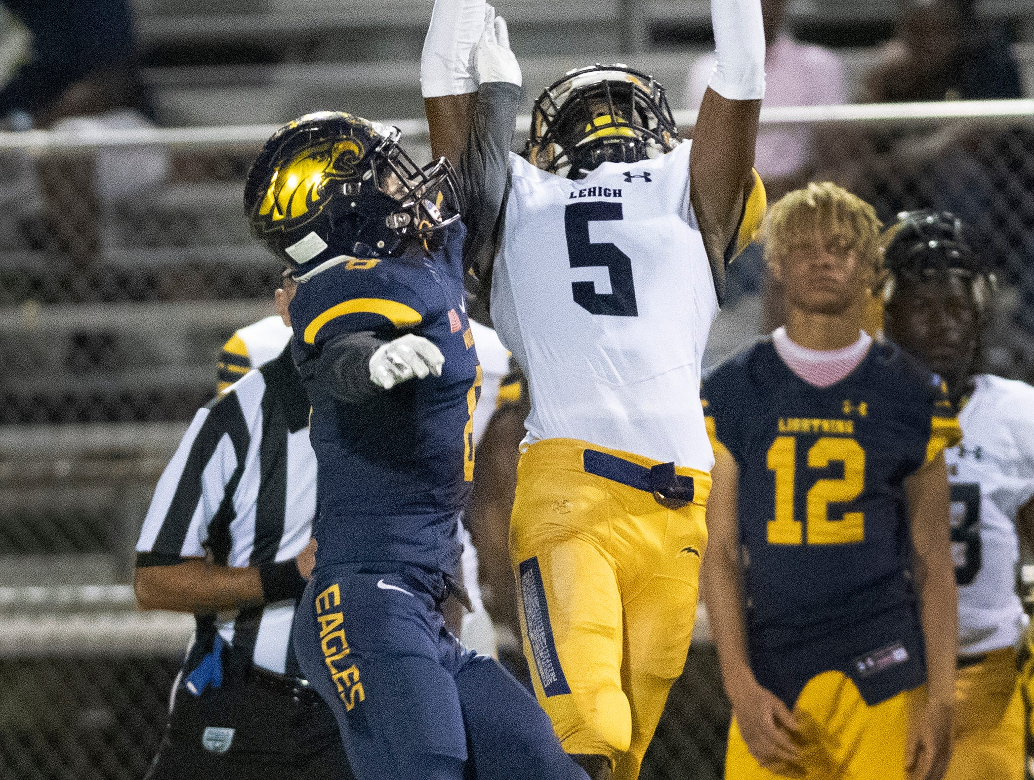 TarVarish Dawson of Lehigh makes a catch over Tre Smith of Naples during the Class 6A regional quarterfinal playoff game at Naples High on Friday night, November 9, 2018.