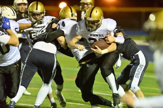 River Dell's Matt Montgomery runs the ball in the North 1, Group 3 sectional semifinal against Paramus.