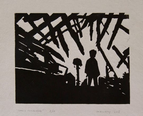 """""""Ivan's Childhood,"""" a piece on display at the Armistice Day 2018 art Exhibit on November 10, 2018 at the The Puffiin Foundation in Teaneck, NJ."""