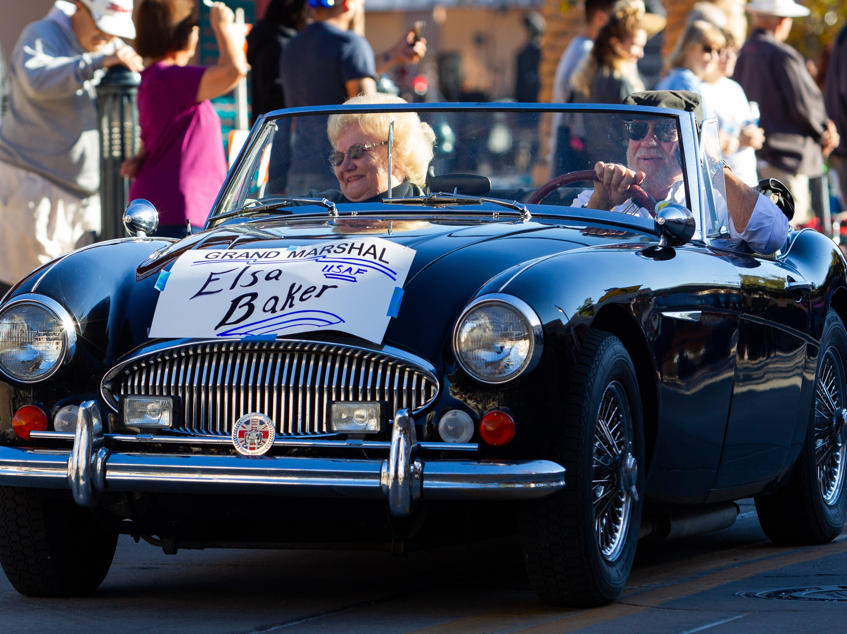 Veterans Day Parade Grand Marshal Elsa Baker, USAF Retired, makes her way down the parade route. The parade was held on November 10, 2018.