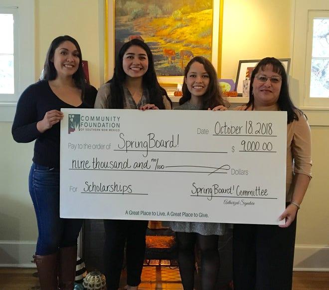 Pictured, from left, are CFSNM SpringBoard! Scholarship recipients Carmen Maria Lozano, Elizabeth Miranda, Andrea Maranon and Esmeralda Triviz.