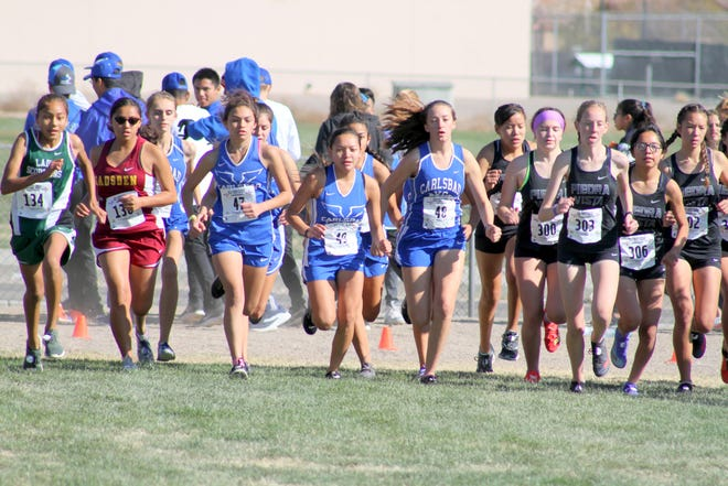 The Cavegirls start off during Saturday's state cross country meet at Rio Rancho High.