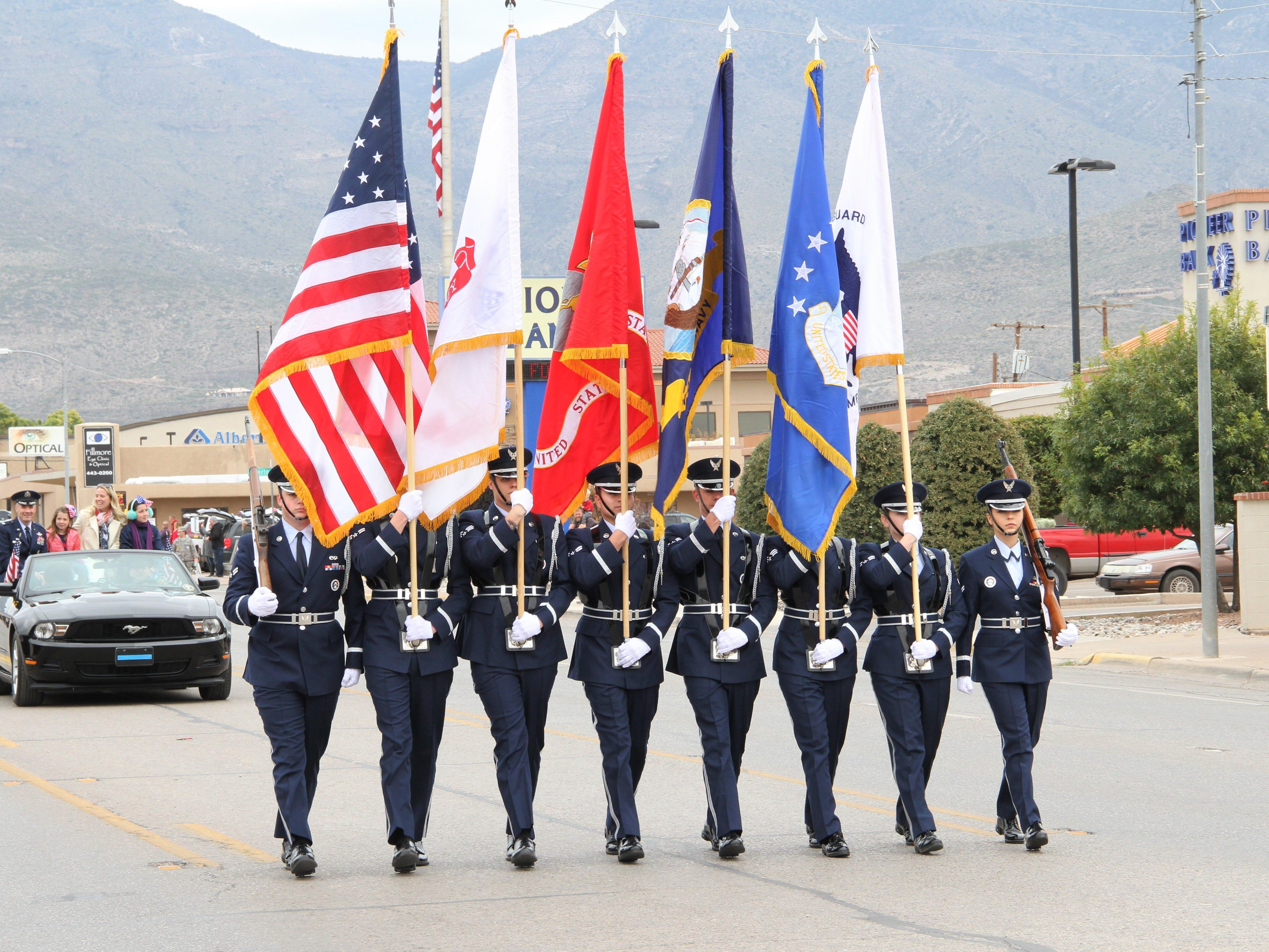 Hollman Air Force Honor Guard leds Alamogordo's Veterans Day Parade Saturday.