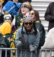 Students cheer on the Hawks during first half of the Division 4 regional final played at Buller Field Nov. 10, 2018