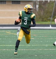 Farmington Harrison RB/DB Roderick Heard (3) during first half of the Division 4 regional final played at Buller Field Nov. 10, 2018