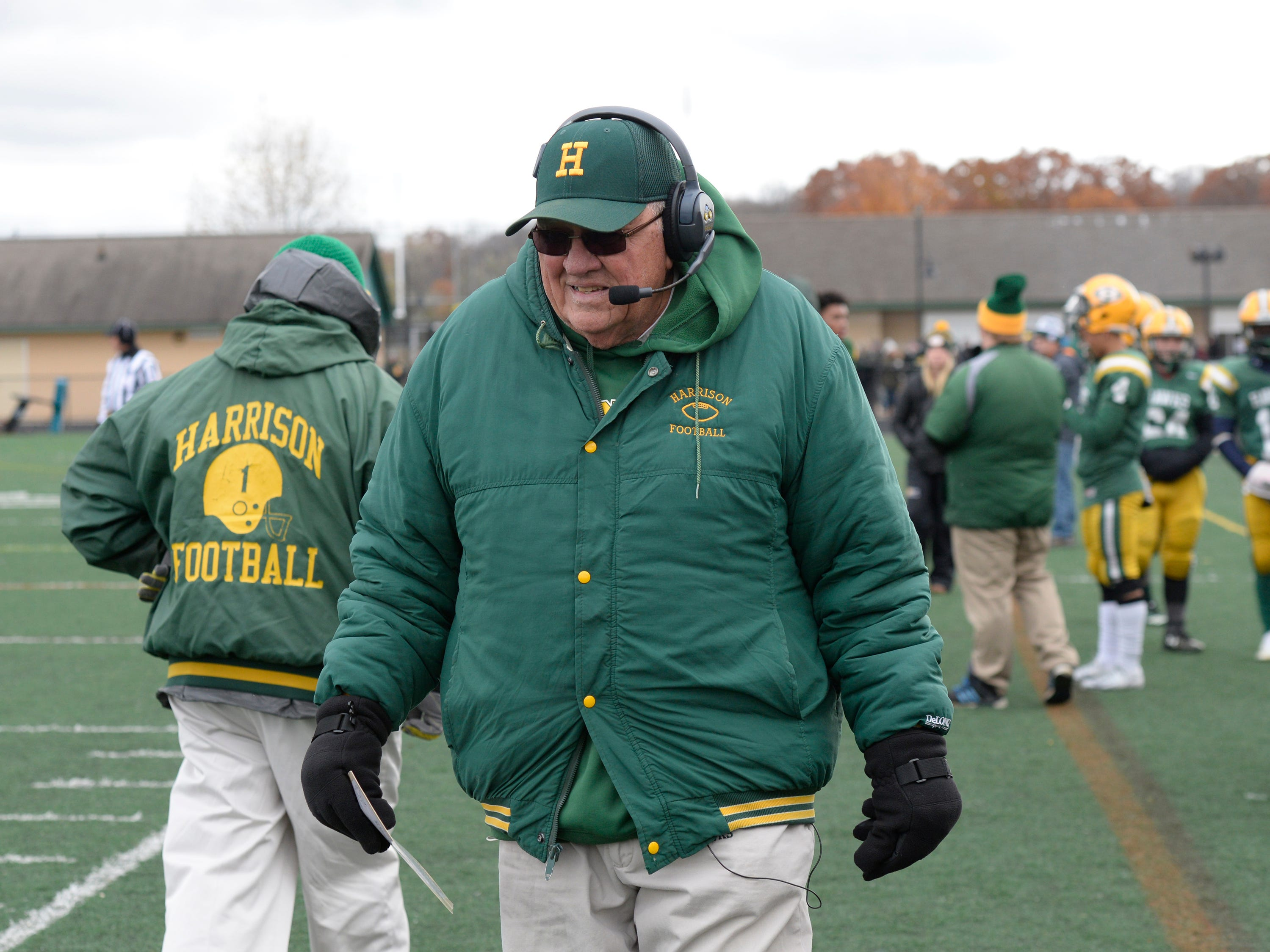 Farmington Harrison Head Coach John Herrington on the sidelines during second half of the Division 4 regional final played at Buller Field Nov. 10, 2018