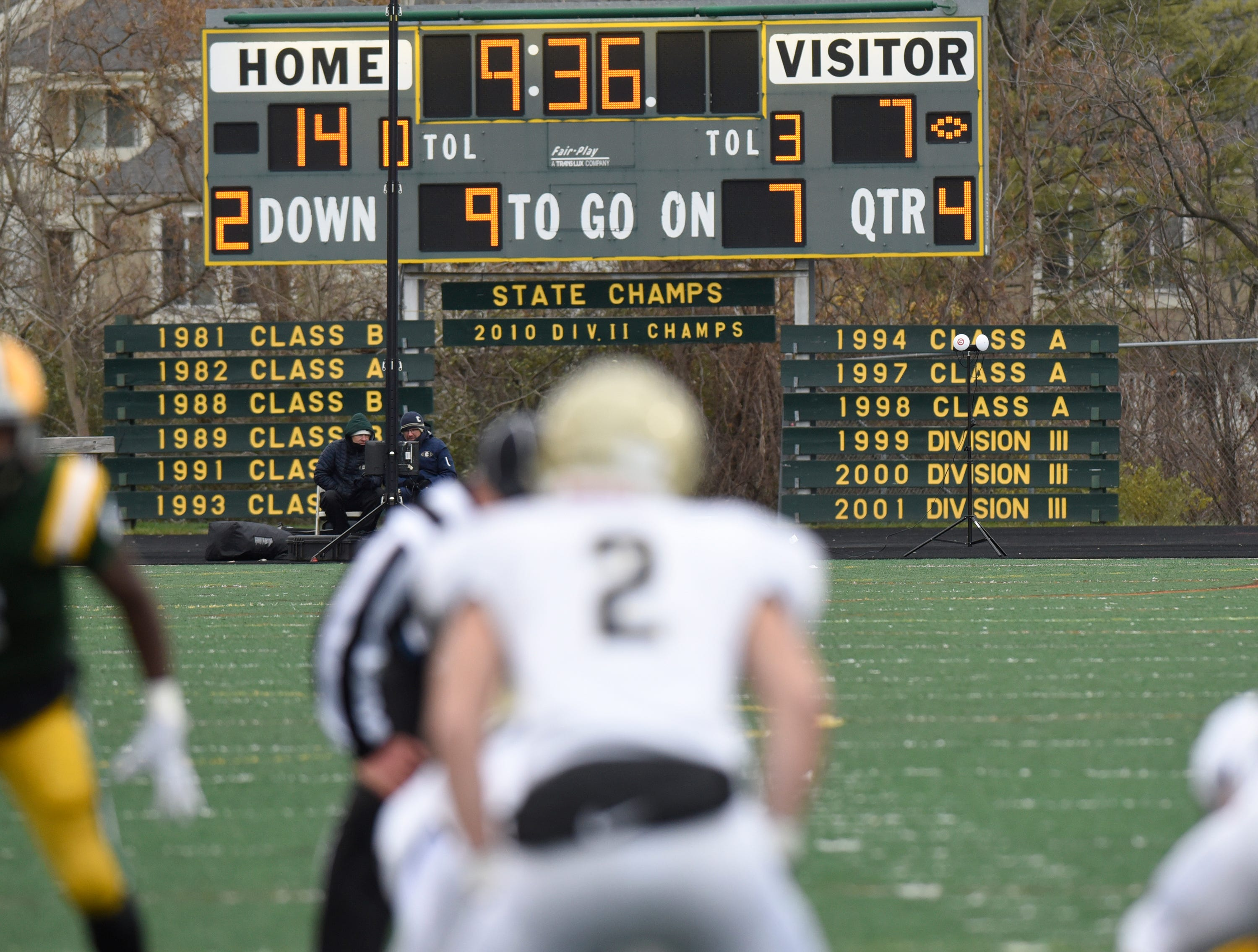 The scoreboard tells the story of a long and storied program at Farmington Harrison - where the Hawks fell 21-14 to Chelsea in the Division 4 regional final played at Buller Field Nov. 10, 2018