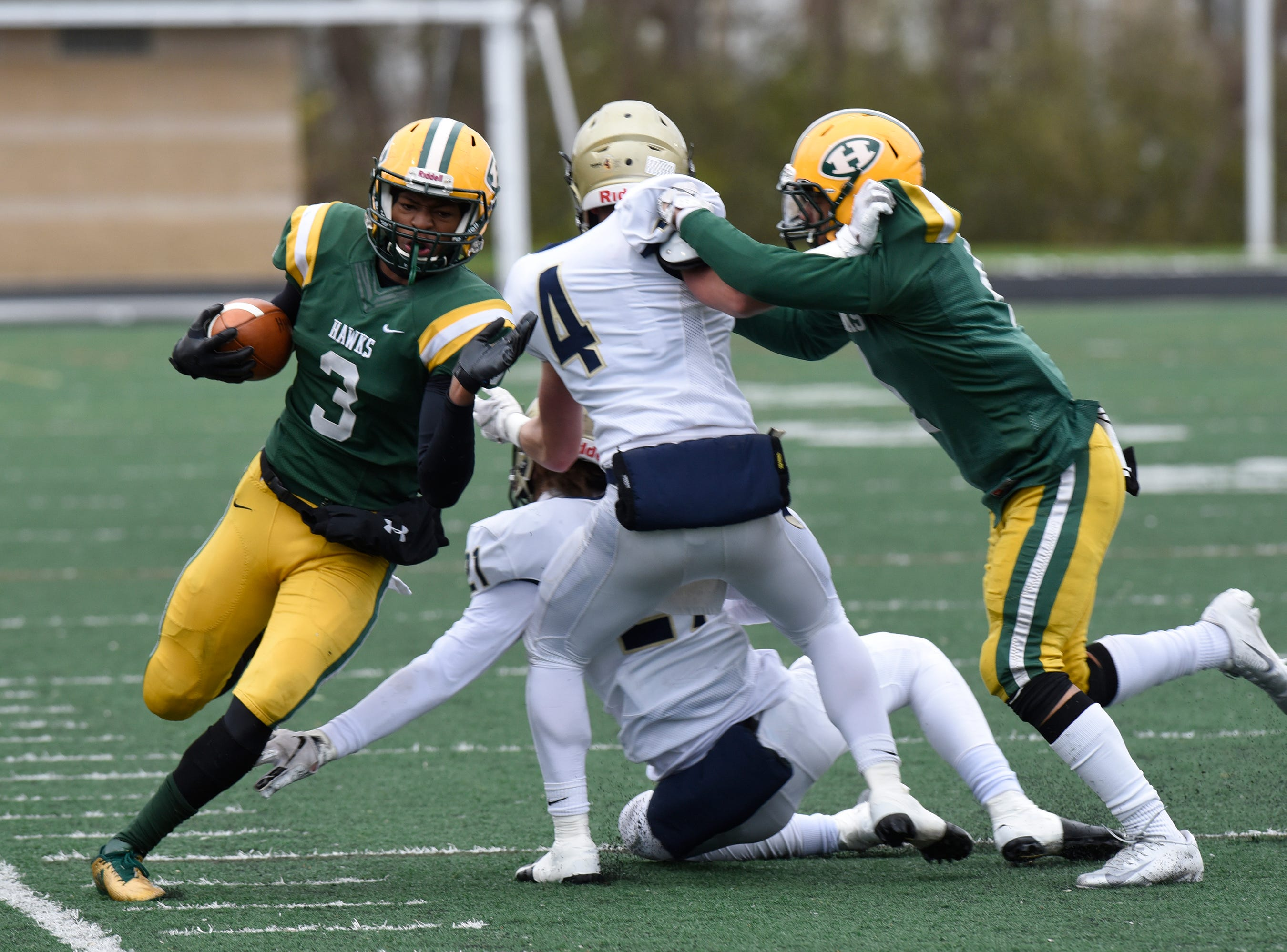 Farmington Harrison RB/DB Roderick Heard (3) during first half of the Division 4 regional final against Chelsea played at Buller Field Nov. 10, 2018