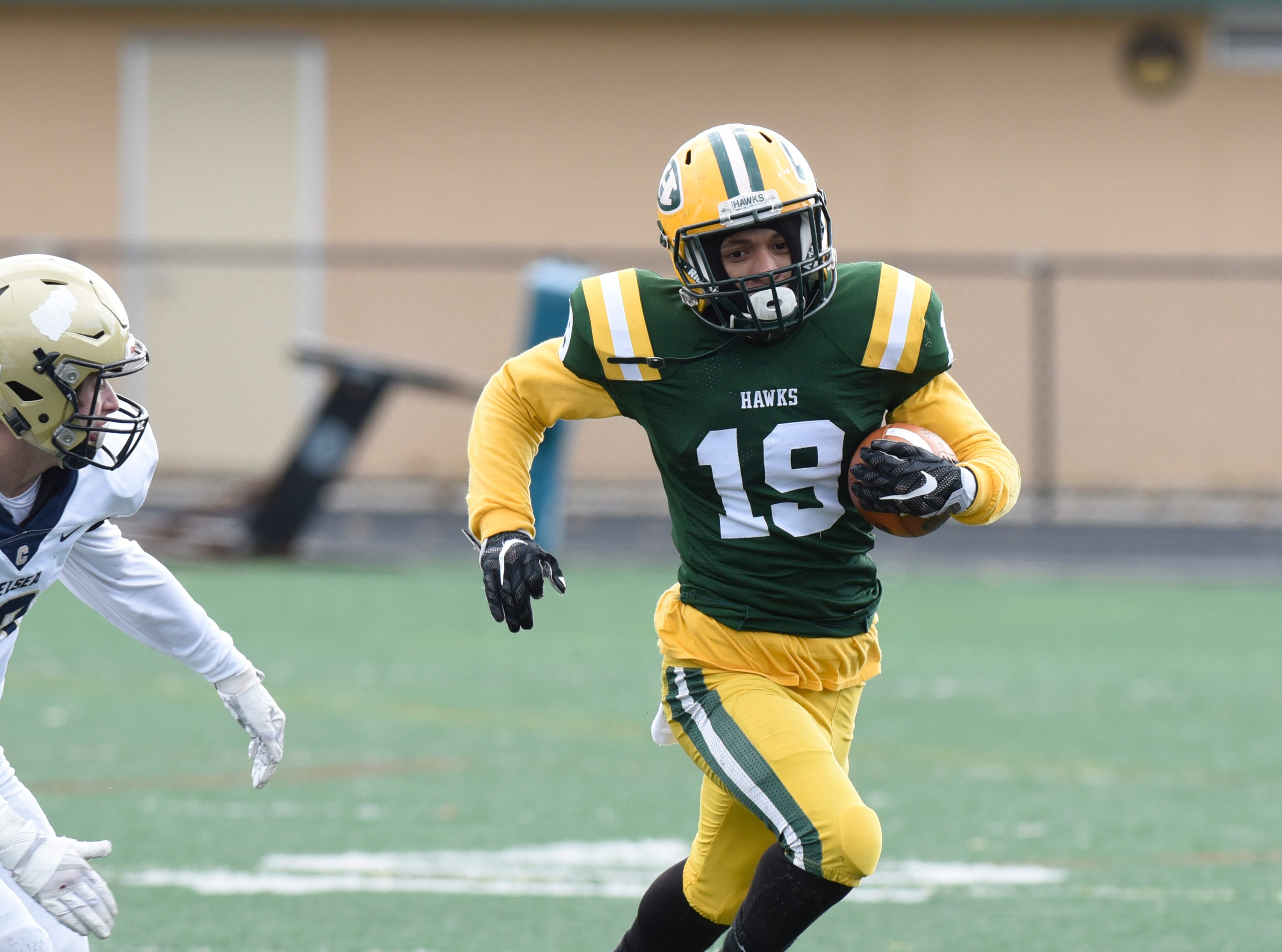Farmington Harrison RB/DB Ben Willimas (19) during first half of the Division 4 regional final played at Buller Field Nov. 10, 2018