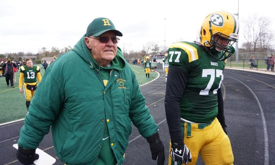 Maverick Hansen (77 ) said head coach John Herrington and his staff at Harrison High School allowed him to be well-prepared for the next level of football in college.