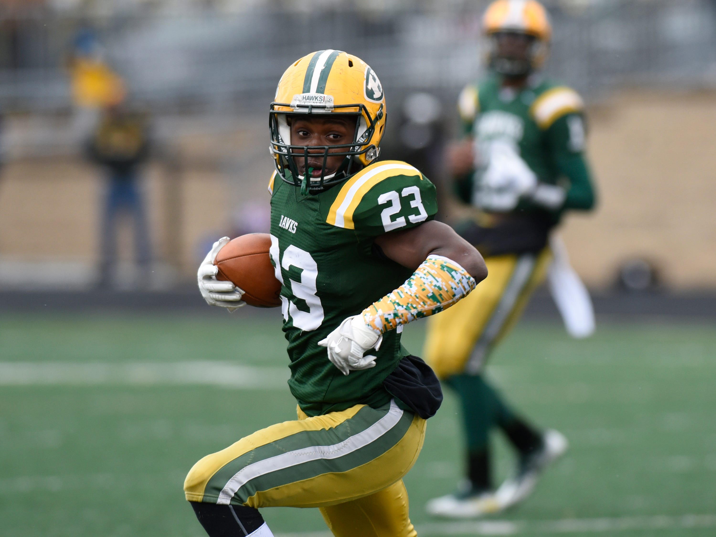 Farmington Harrison RB/DB Vincent Rawls (23) during second half of the Division 4 regional final played at Buller Field Nov. 10, 2018