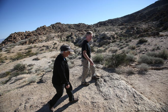 Dawne Robinson, the sister of missing Canadian hiker Paul Miller, and her husband, David Robinson, at Fortynine Palm Oasis trailhead in Joshua Tree National Park, on Saturday, November 10, 2018 to search for any sign of Miller, who went missing on July 13, 2018.