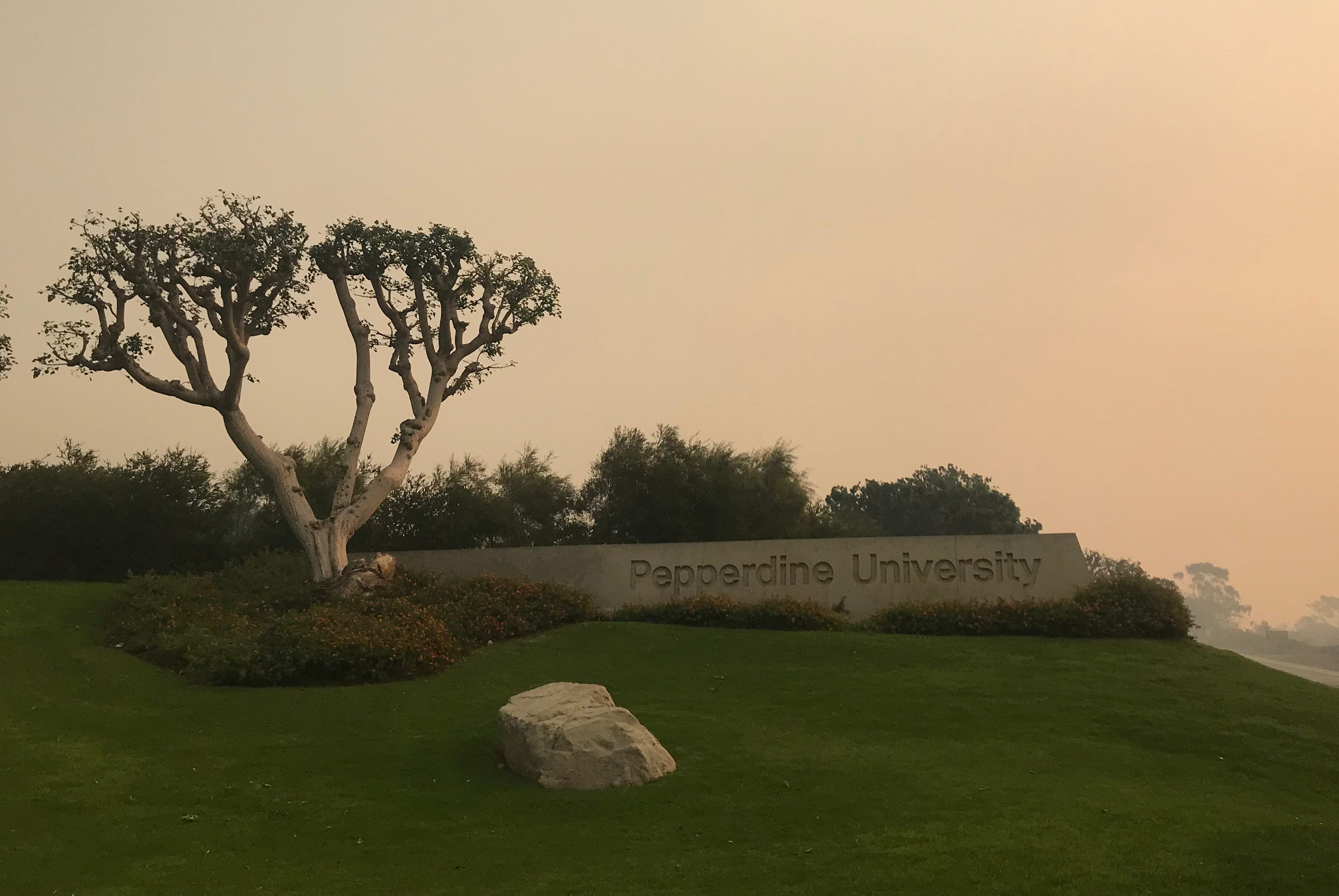 Pepperdine University was surrounded by smoke on Saturday, Nov. 10, 2018, as crews continued to fight the Woolsey Fire.