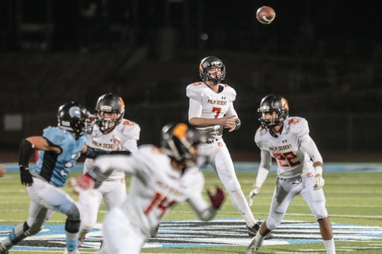 Palm Desert quarterback Carter Stokes throws a pass against San Gorgonio on Friday, November 9, 2018 in San Bernardino during the CIF Southern Section 2nd round playoff.