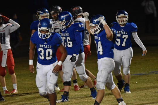 It was a celebratory kind of night for James Eddings  (34) and the Jay Royals in their first playoff win since 2002 , beating Panama City Bozeman.