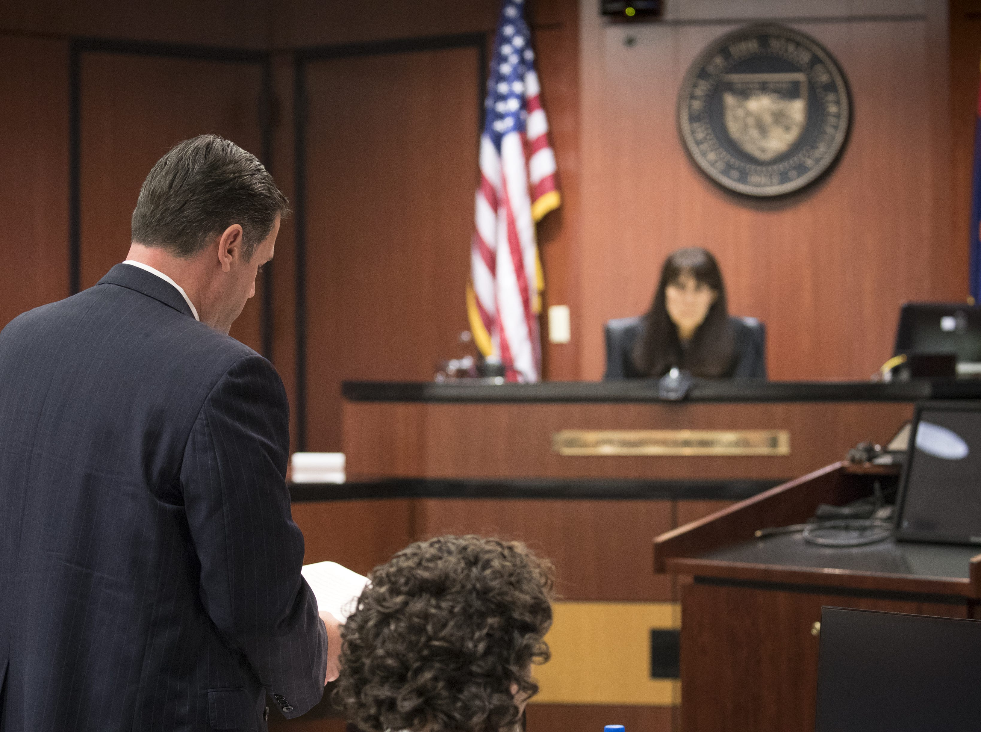Brett Johnson, an attorney for the Republicans, speaks during a hearing in Maricopa County Superior Judge Margaret Mahoney's courtroom in Phoenix on Nov. 9, 2018.