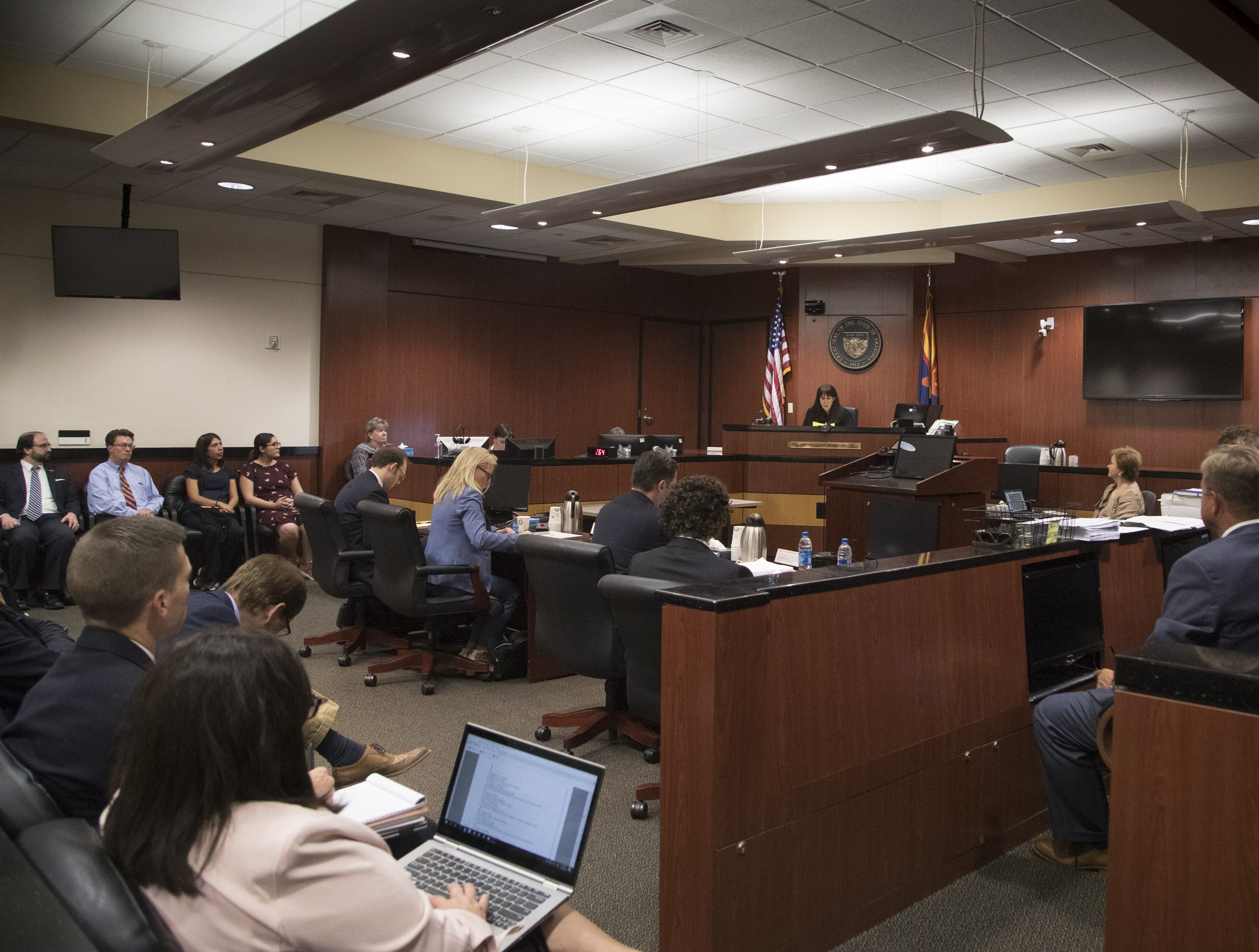 Judge Margaret Mahoney listens during a hearing in her Maricopa County Superior courtroom in Phoenix on Nov. 9, 2018.