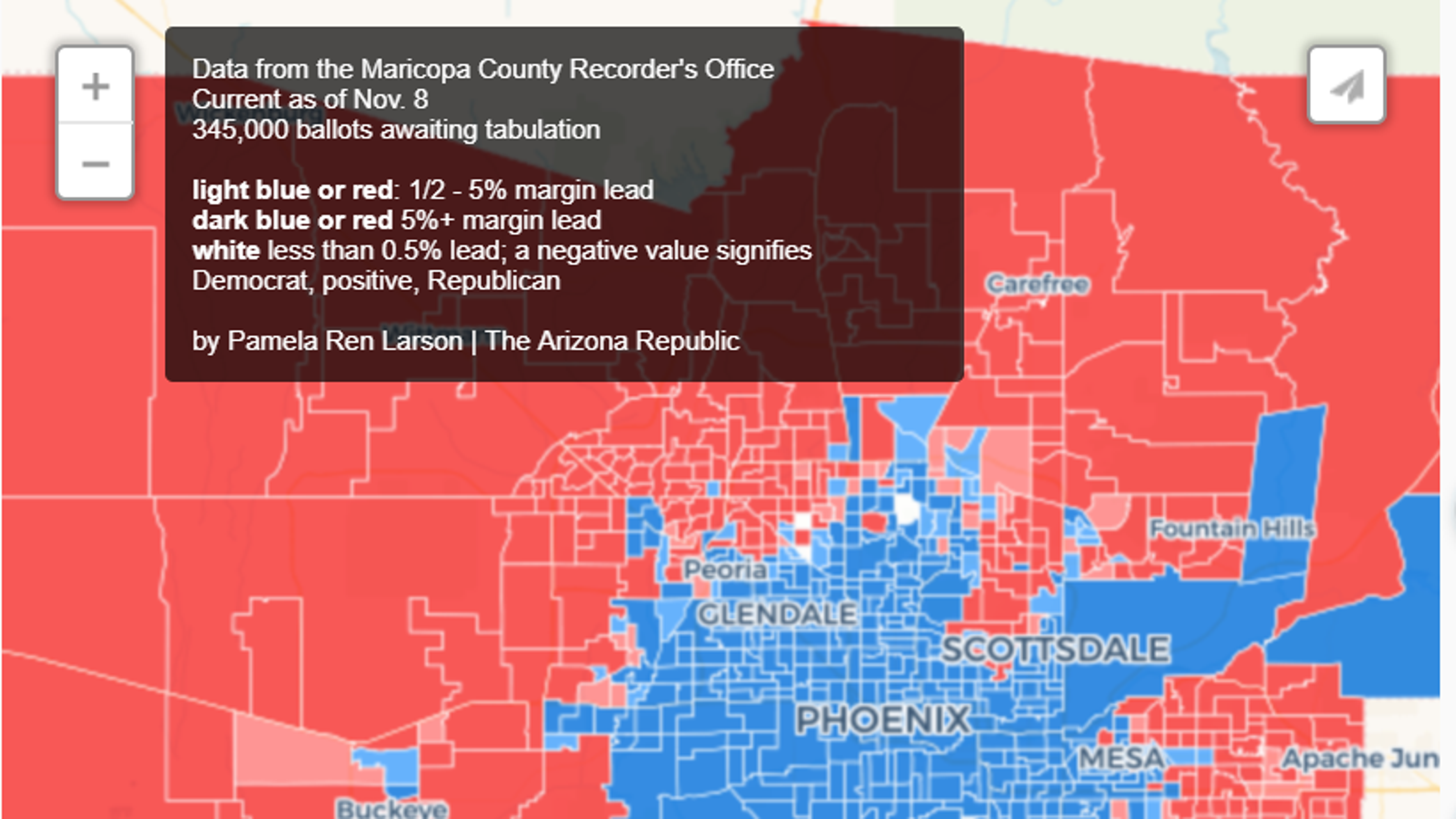 MAP: Where are McSally, Sinema winning votes in Maricopa County?