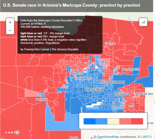 This map shows current results for Arizona;s Senate race at the precinct level.