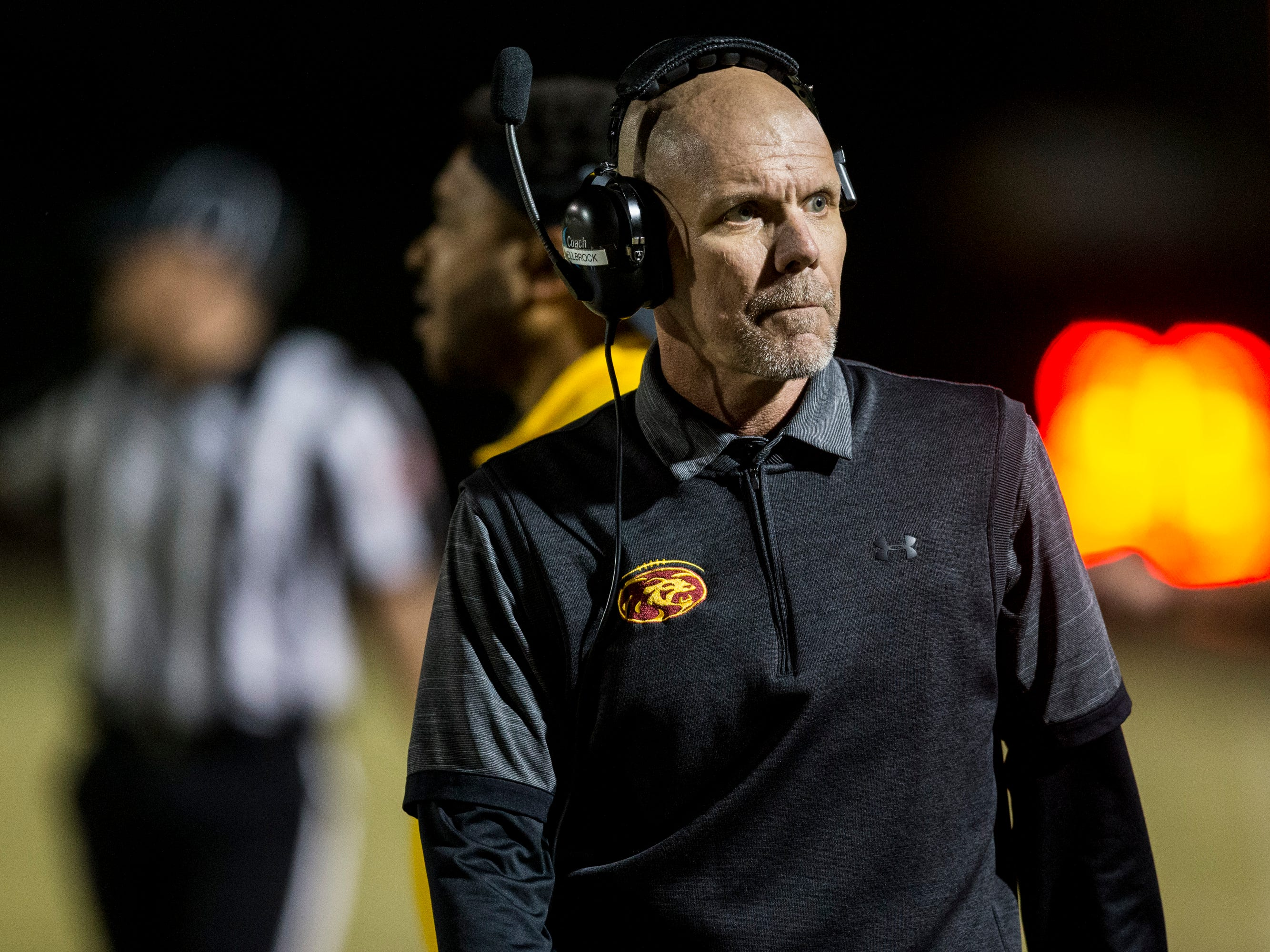 Mountain Pointe head coach Rich Wellbrock stands on the sideline during the game against Chandler on Friday, Nov. 9, 2018, at Chandler High School in Chandler, Ariz.