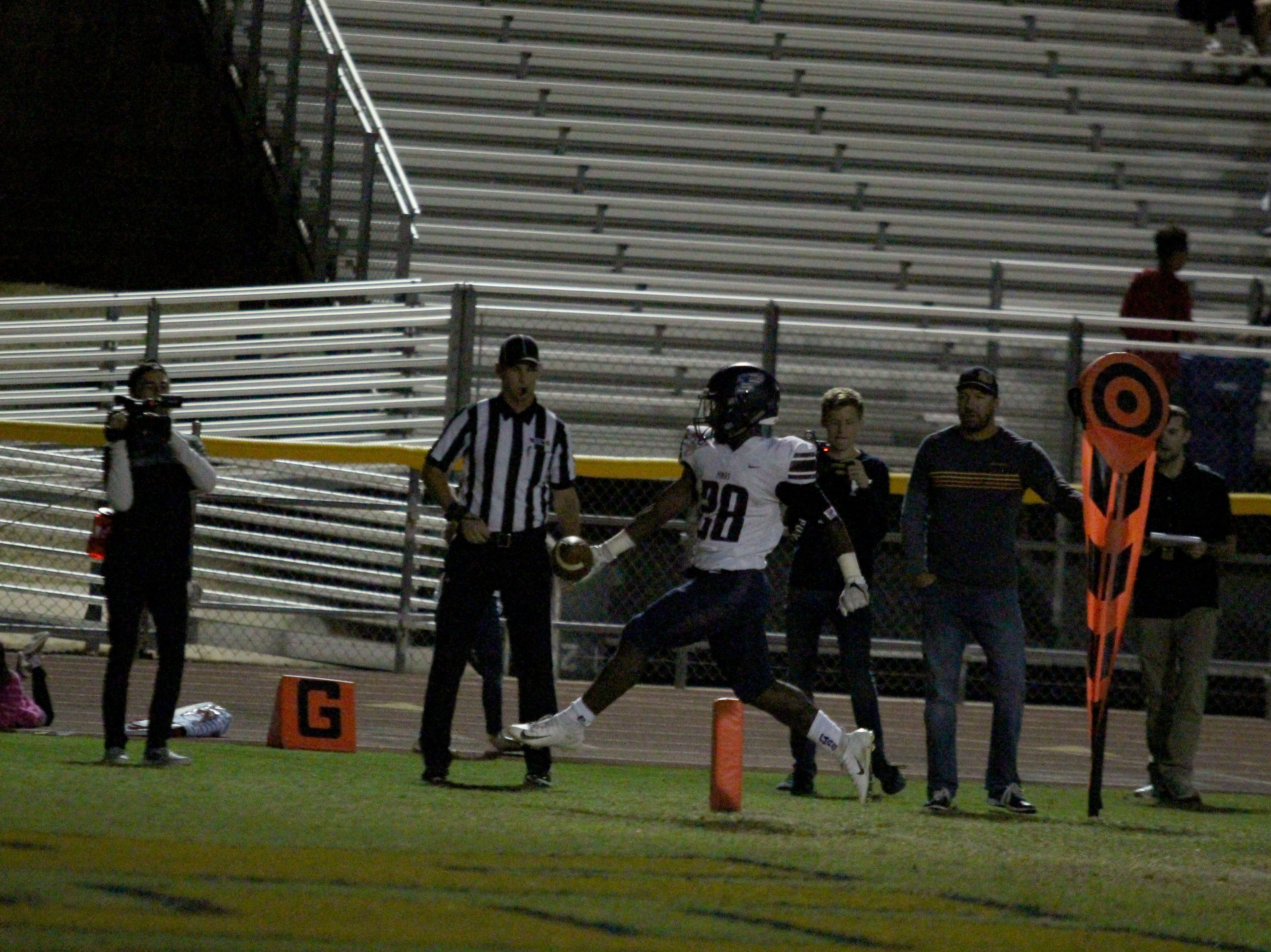 Perry's Jalen Young runs into the end zone against Desert Vista on Friday night at Desert Vista High School on Nov. 9, 2018.