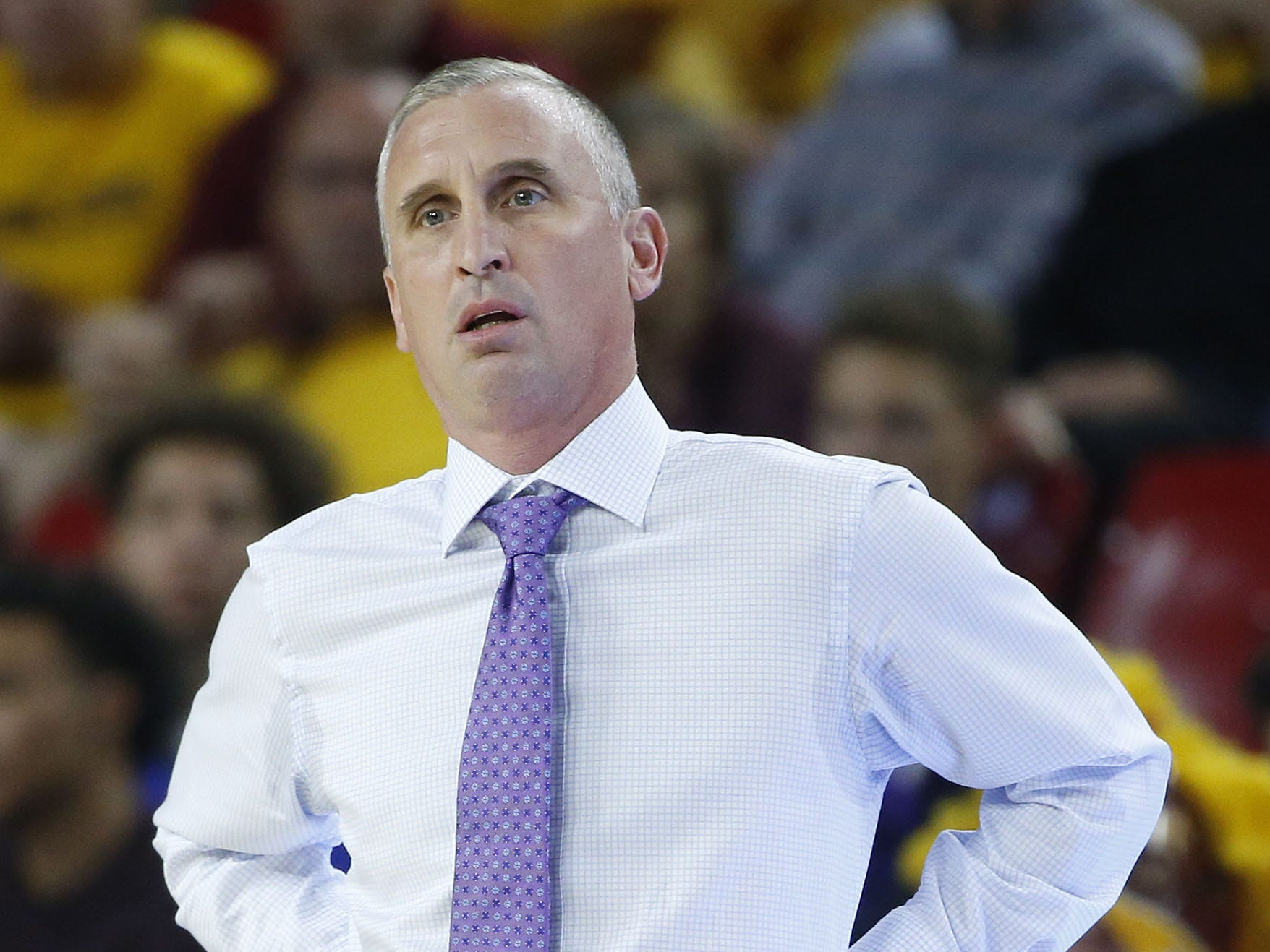 Arizona State head coach Bobby Hurley reacts to a call during the first half against McNeese State at Wells Fargo Arena in Tempe, Ariz. on November 9, 2018.