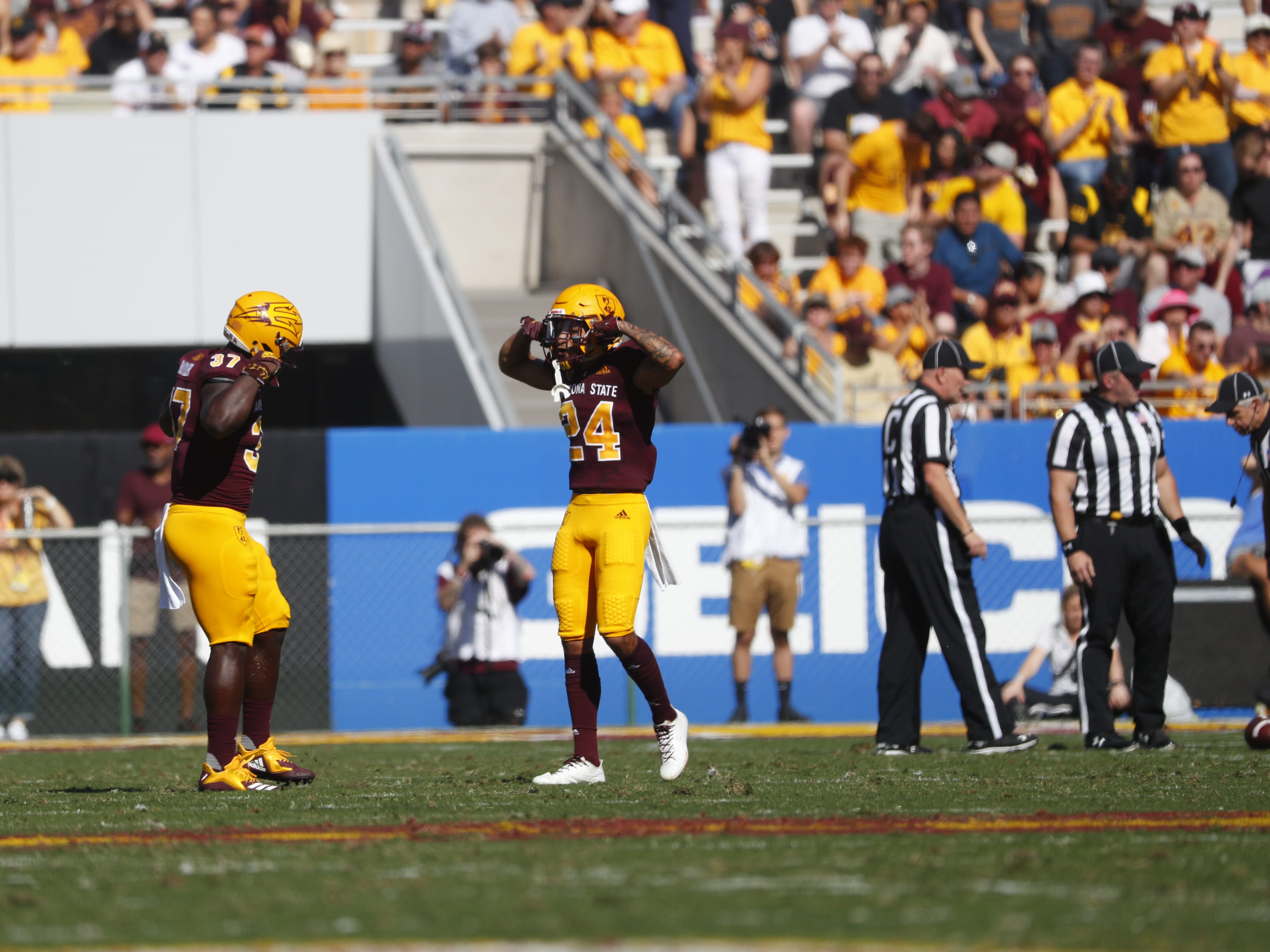 ASU's Chase Lucas (24) celebrates after the team forces a turnover on downs against UCLA during the first half at Sun Devil Stadium in Tempe, Ariz. on November 10, 2018.