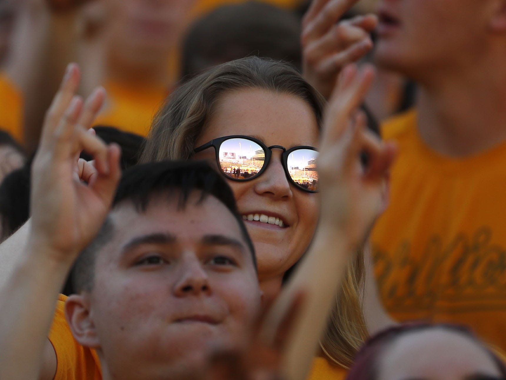 ASU fans throw up the forks for kickoff against UCLA during the first half at Sun Devil Stadium in Tempe, Ariz. on November 10, 2018.