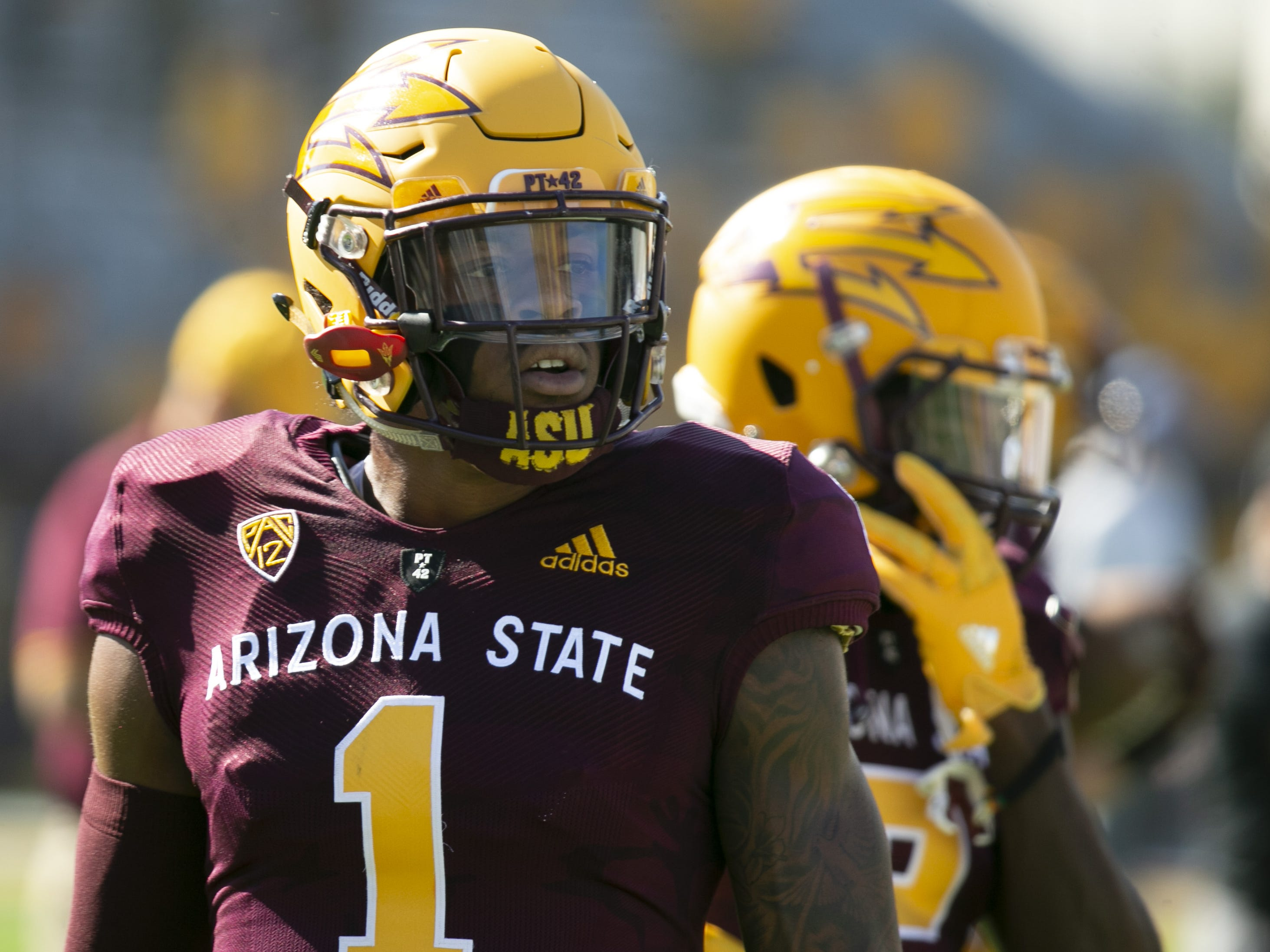 ASU wide receiver N'Keal Harry looks on before the PAC-12 college football game against UCLA at Sun Devil Stadium in Tempe on Saturday, November 10, 2018. This could be Harry's last game at Sun Devil Stadium as he may go to the NFL.