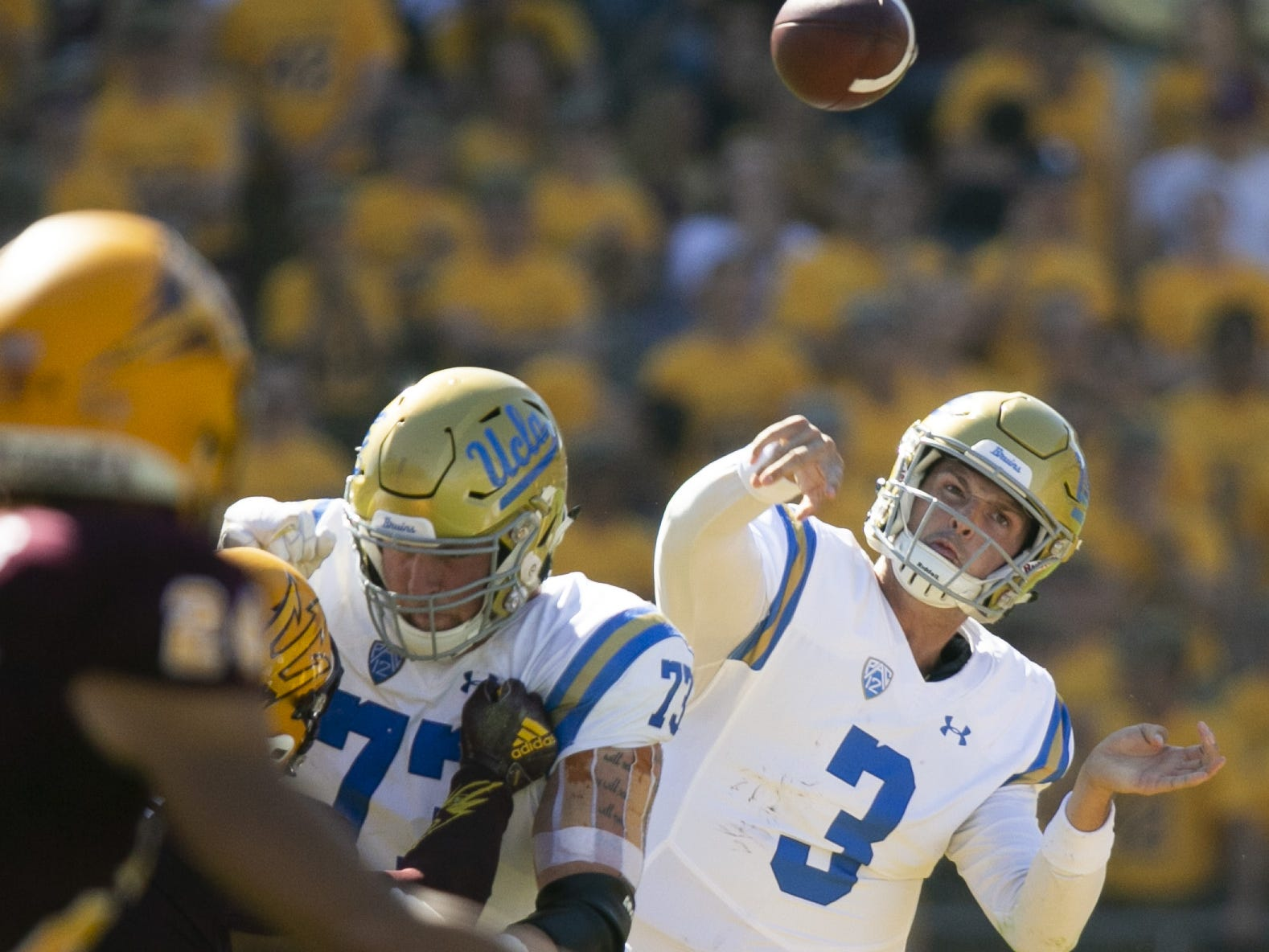 UCLA quarterback Wilton Speight passes against ASU during the second quarter of the PAC-12 college football game at Sun Devil Stadium in Tempe on Saturday, November 10, 2018.