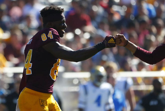 ASU's Frank Darby (84) comes off the field after an injury against UCLA during the first half at Sun Devil Stadium in Tempe, Ariz. on November 10, 2018.