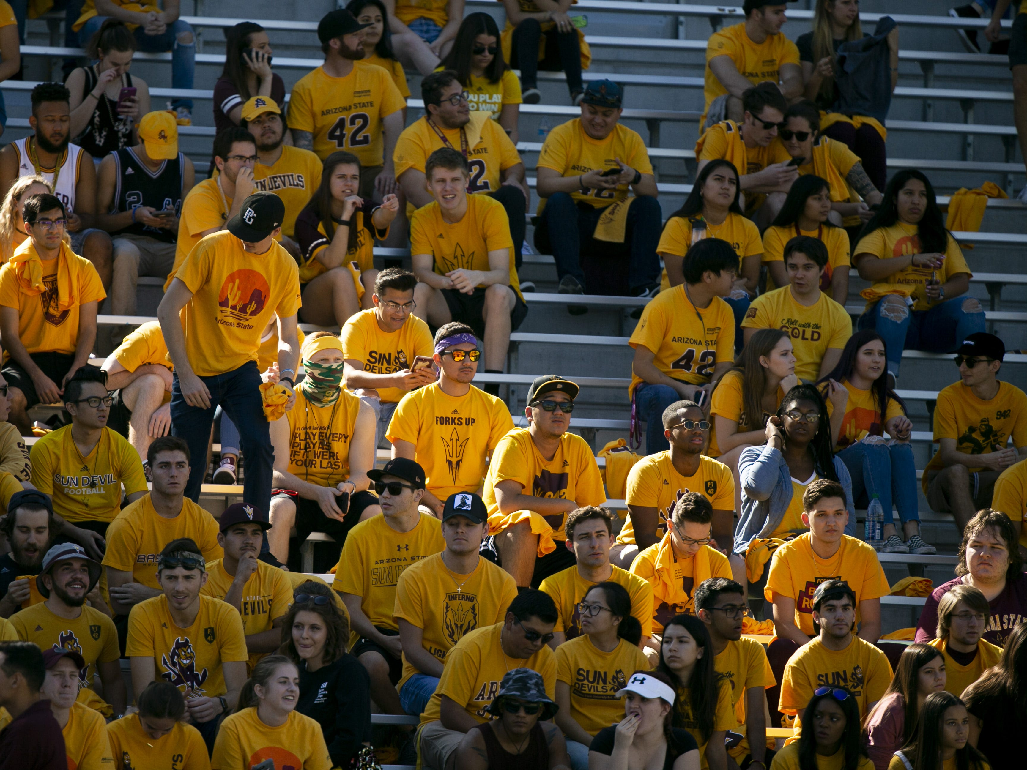 The ASU student section before the PAC-12 college football game against UCLA at Sun Devil Stadium in Tempe on Saturday, November 10, 2018.