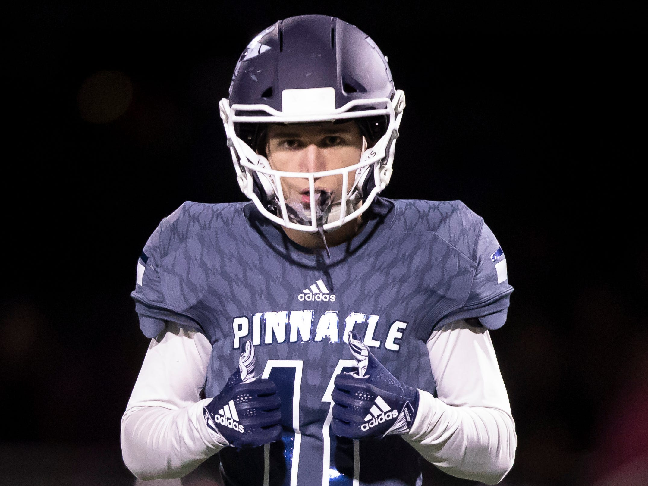 Senior defensive back Kyle Bryant (11) of the Pinnacle Pioneers during the playoff game against the Red Mountain Mountain Lions at Pinnacle High School on Friday, November 9, 2018 in Phoenix, Arizona. #azhsfb