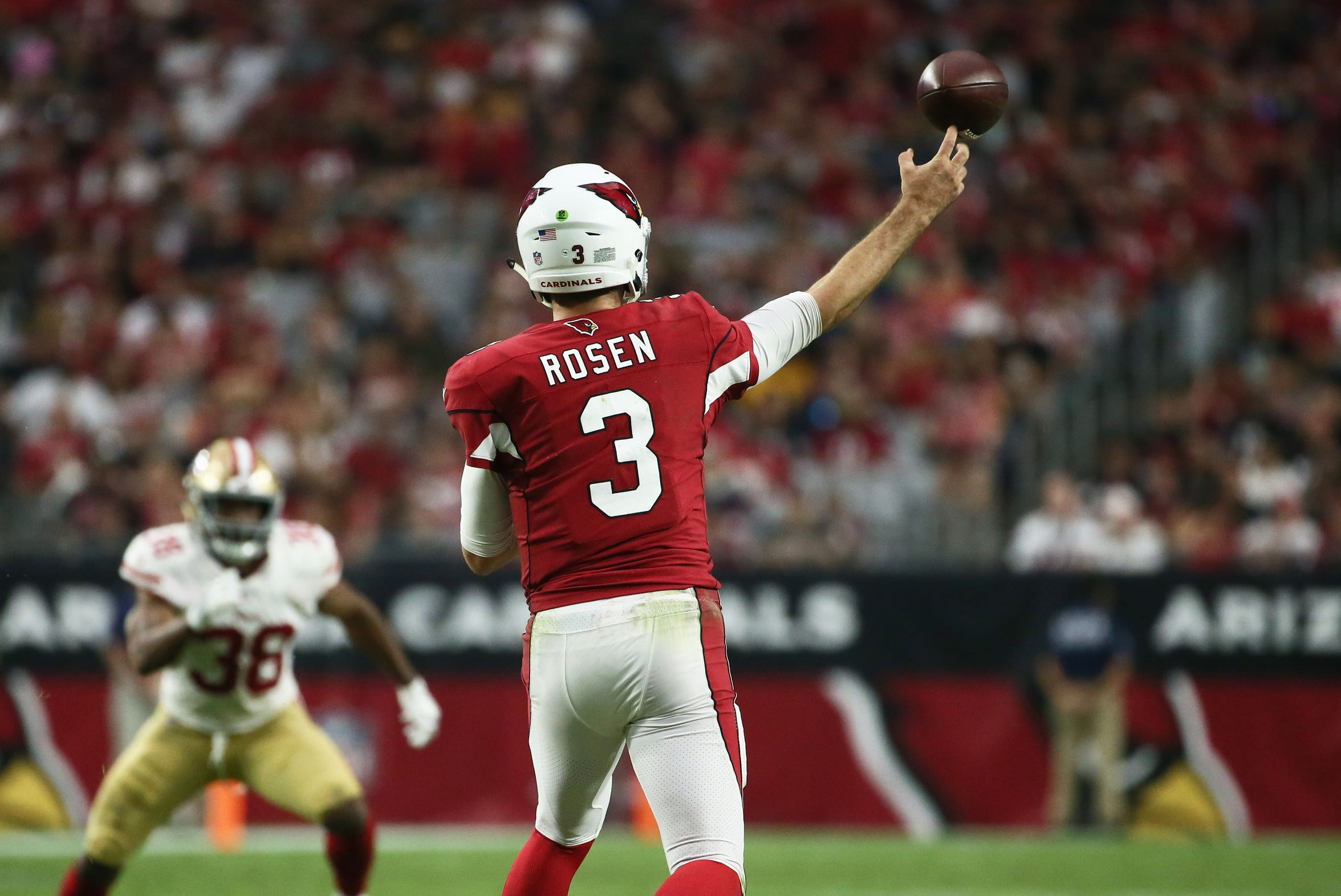 Josh Rosen throws a pass against the 49ers in the Cardinals' second win of the season late last month.