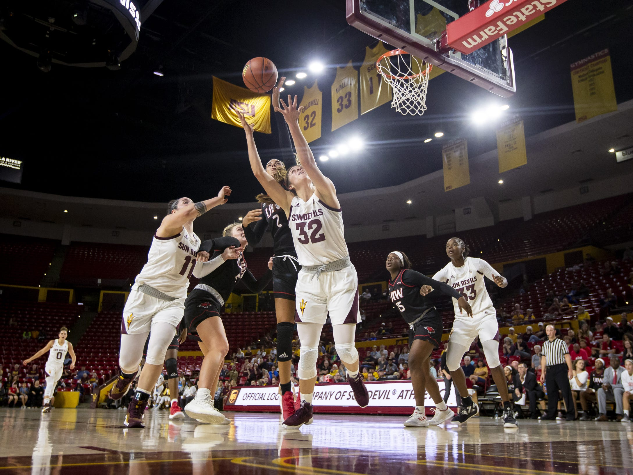 Forward Jayde Van Hyfte (32) of the Arizona State Sun Devils reaches for a rebound against the Incarnate Word Cardinals at Wells Fargo Arena on Tuesday, November 6, 2018 in Tempe, Arizona.