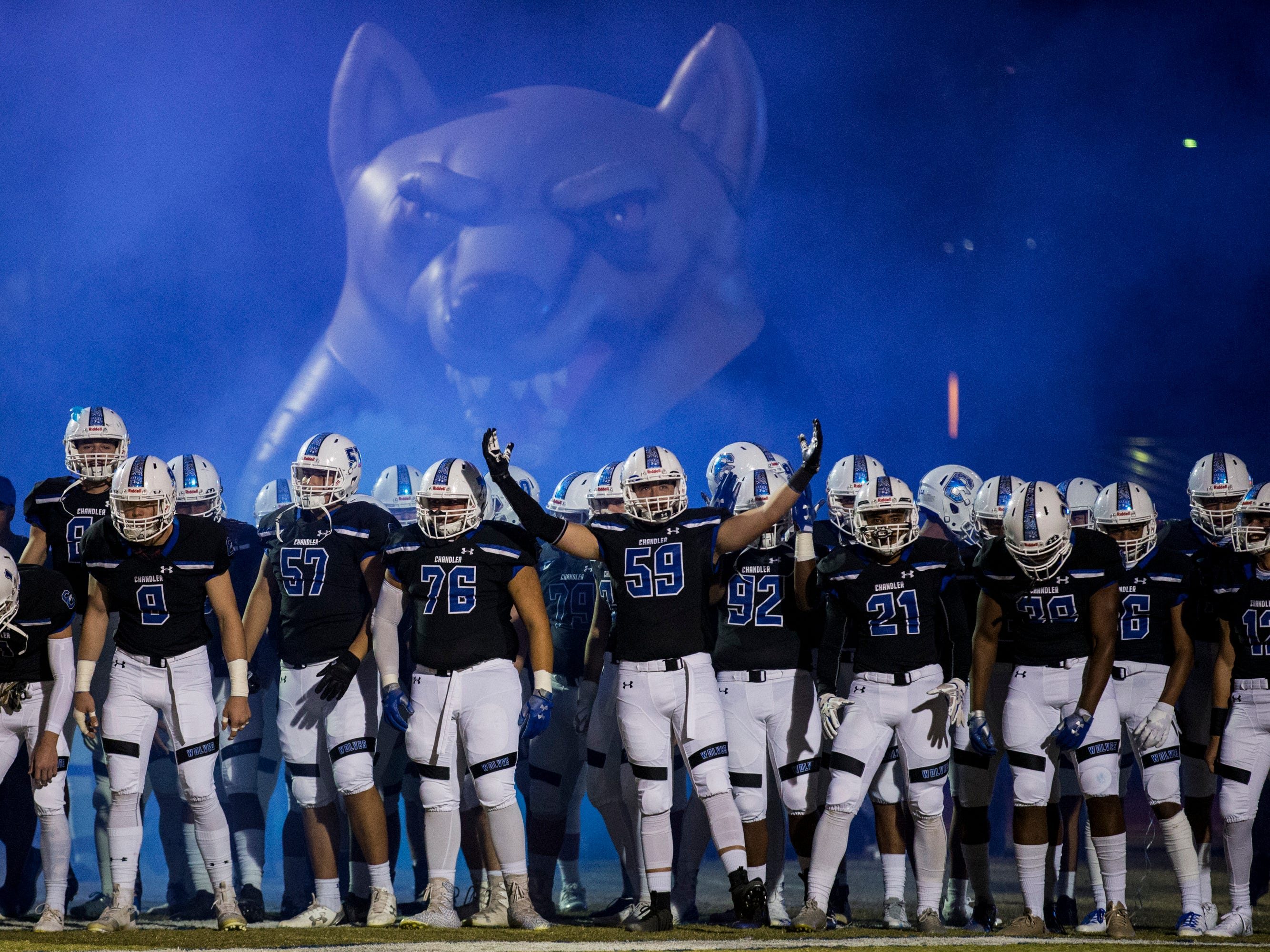 Chandler gets ready to take the field before the game against Mountain Pointe on Friday, Nov. 9, 2018, at Chandler High School in Chandler, Ariz.#azhsfb