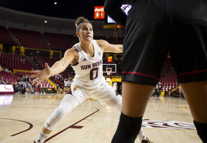 Guard Taya Hanson (0) of the Arizona State Sun Devils guards during the game against the Incarnate Word Cardinals at Wells Fargo Arena on Tuesday, November 6, 2018 in Tempe, Arizona.