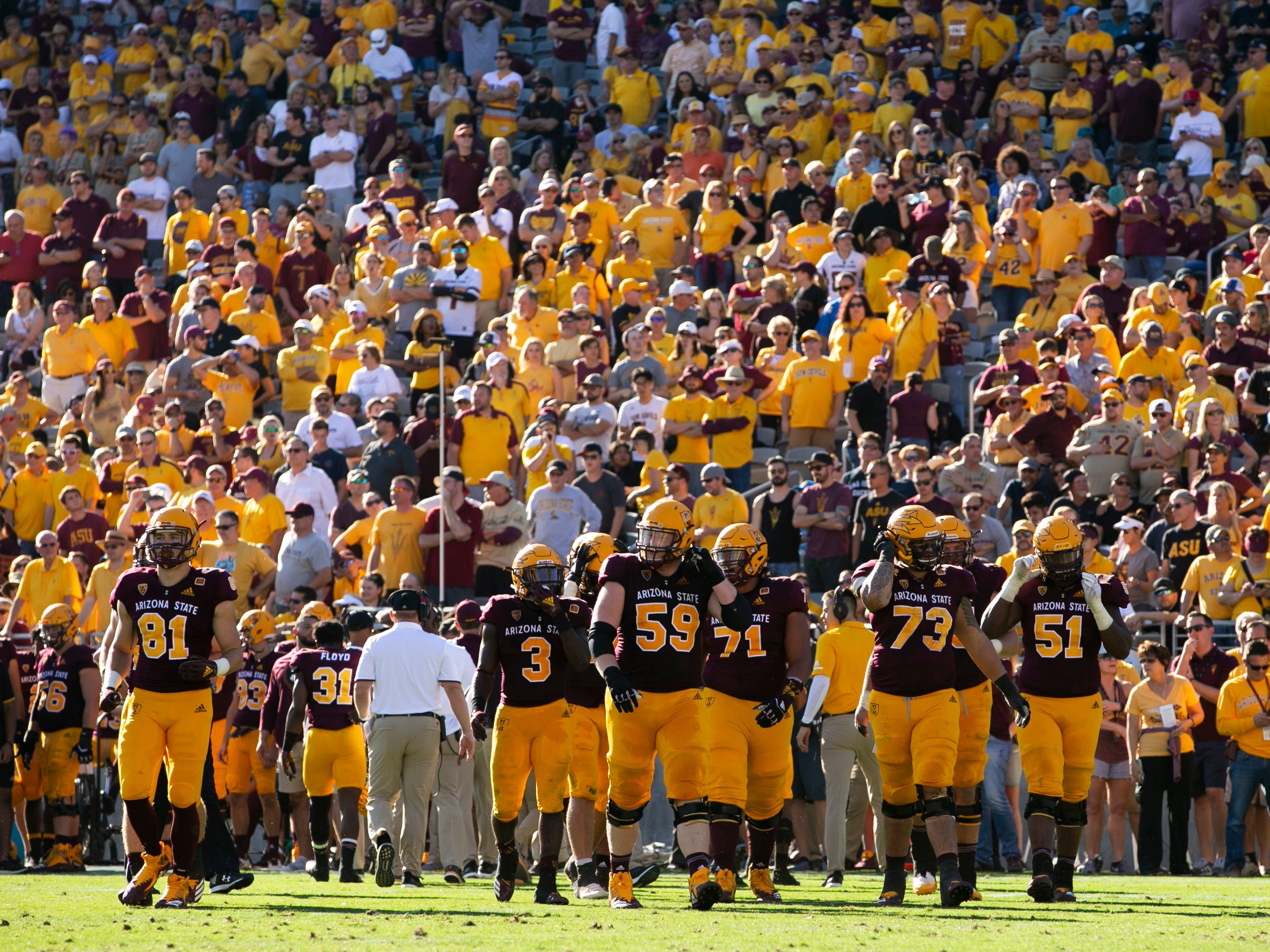 The ASU offense takes the field during the fourth quarter of the PAC-12 college football game against UCLA at Sun Devil Stadium in Tempe on Saturday, November 10, 2018.