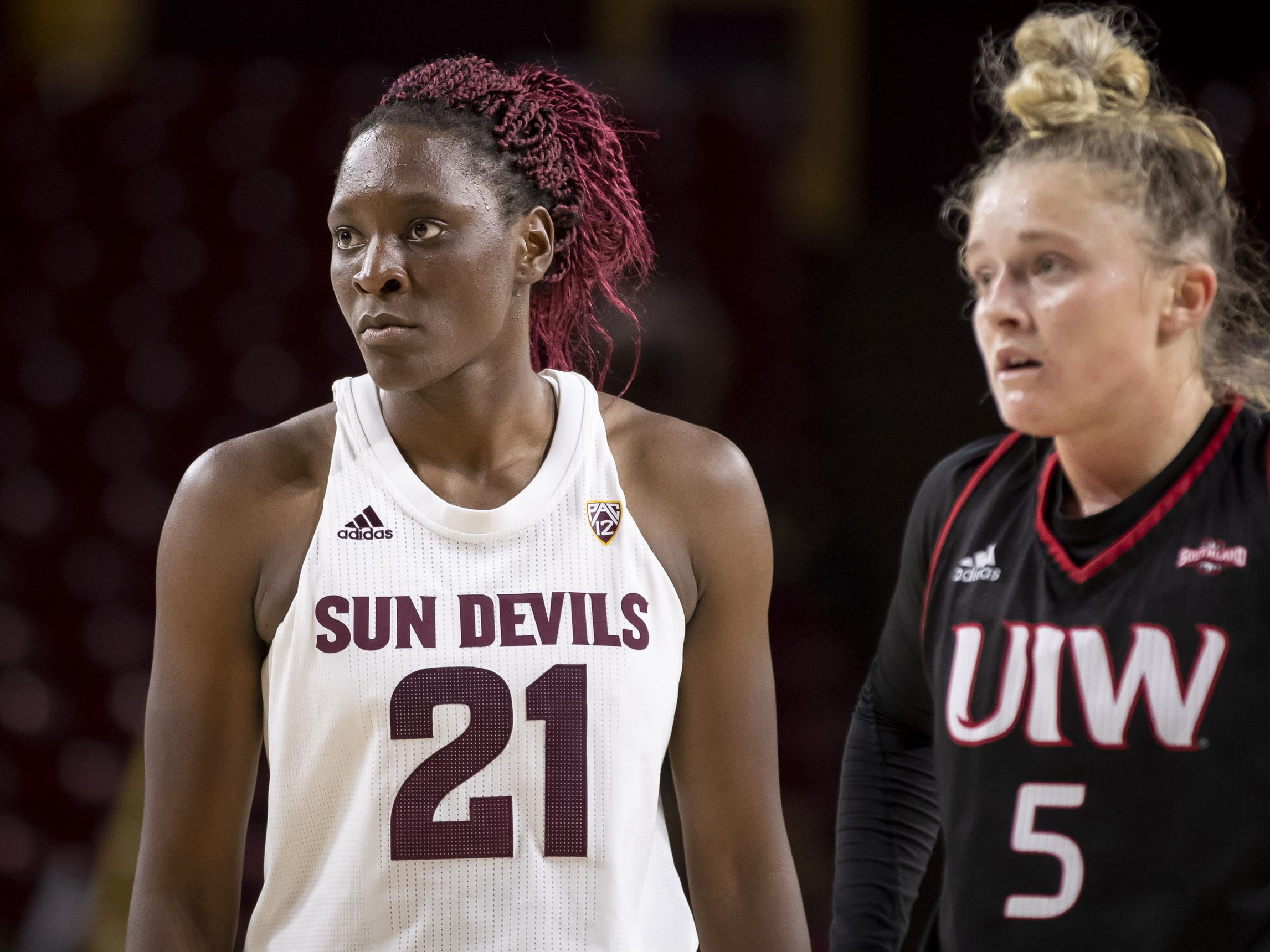 Iorward Sophia Elenga (21) of the Arizona State Sun Devils during the game against the Incarnate Word Cardinals at Wells Fargo Arena on Tuesday, November 6, 2018 in Tempe, Arizona.