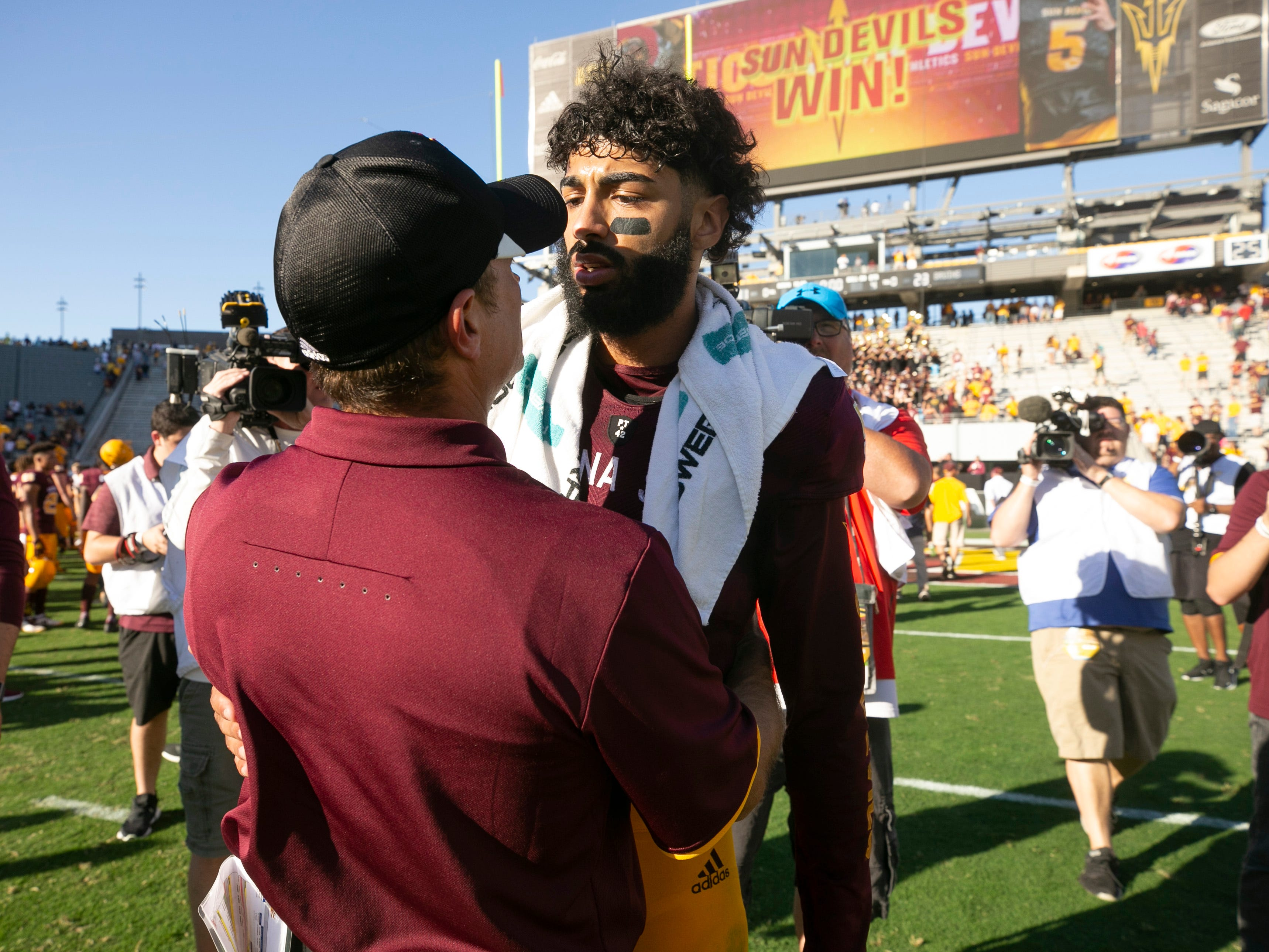 ASU quarterback Manny Wilkins after ASU's 31-28 win over UCLA in the PAC-12 college football game at Sun Devil Stadium in Tempe on Saturday, November 10, 2018. This is the last game at Sun Devil Stadium for Wilkins.
