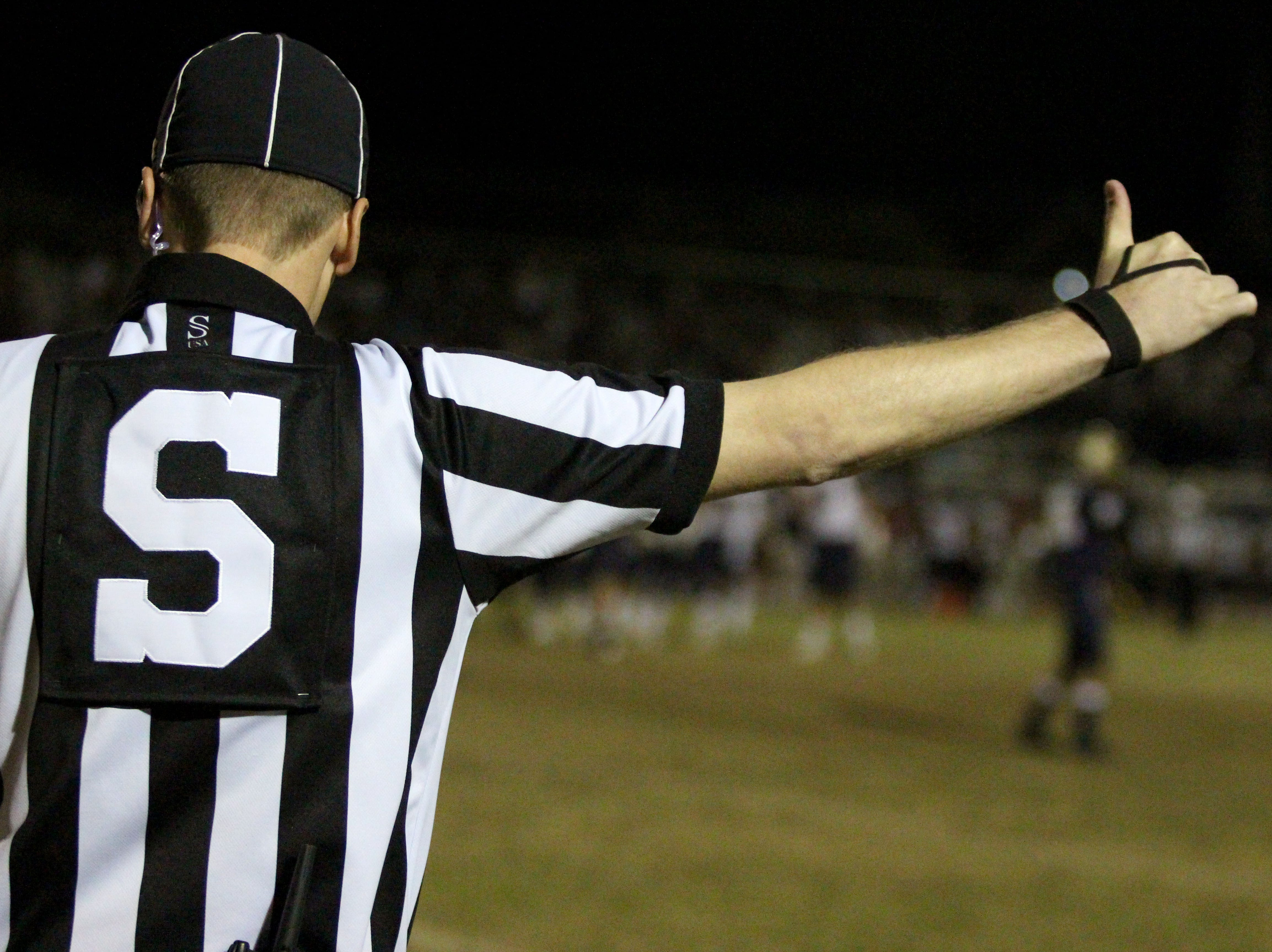 The referee watches on during the Desert Vista and Perry game on Friday night at Desert Vista High School on Nov. 9, 2018.