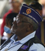 Sylvester Primous listens to speakers during 7th annual Forgotten Heroes Appreciation Breakfast at Travis L. Williams American Legion Post 65 in Phoenix on Nov. 10, 2018.