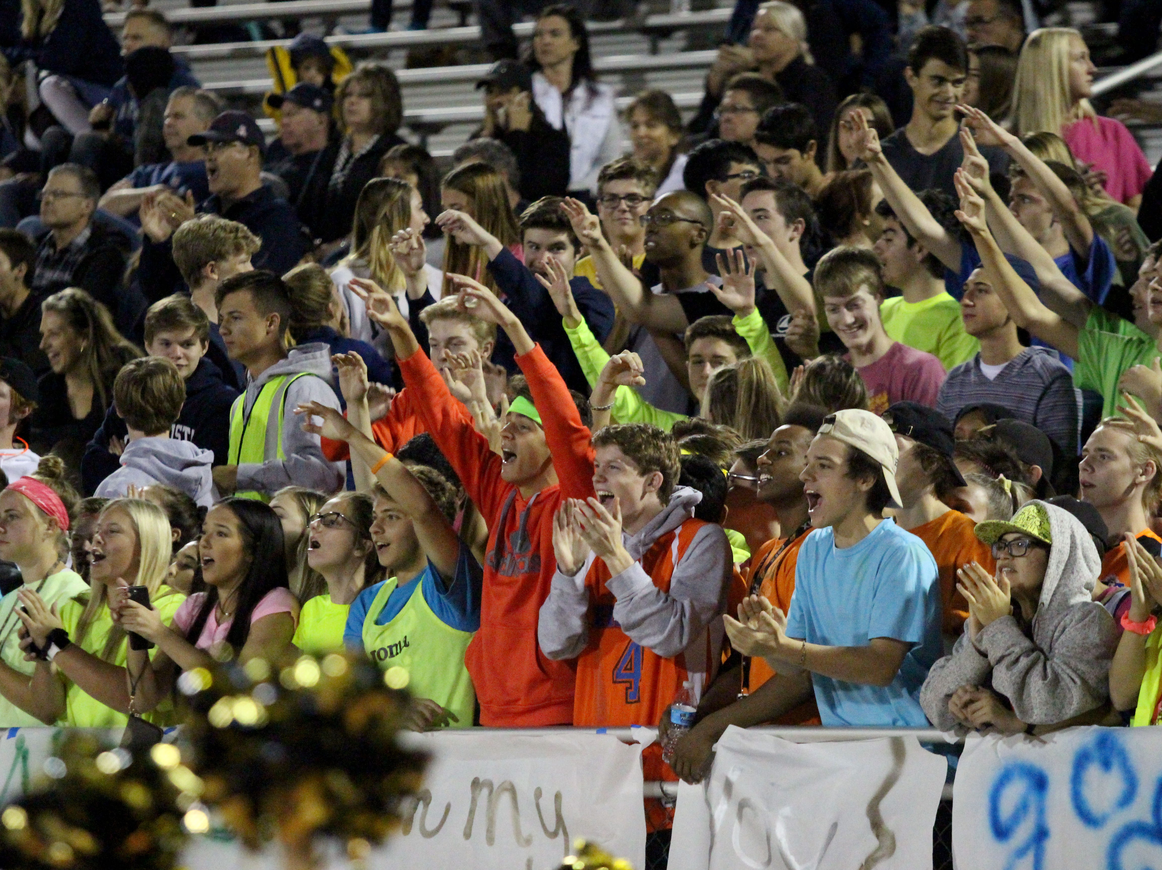 Desert Vista fans cheer on Friday night at Desert Vista High School on Nov. 9, 2018.